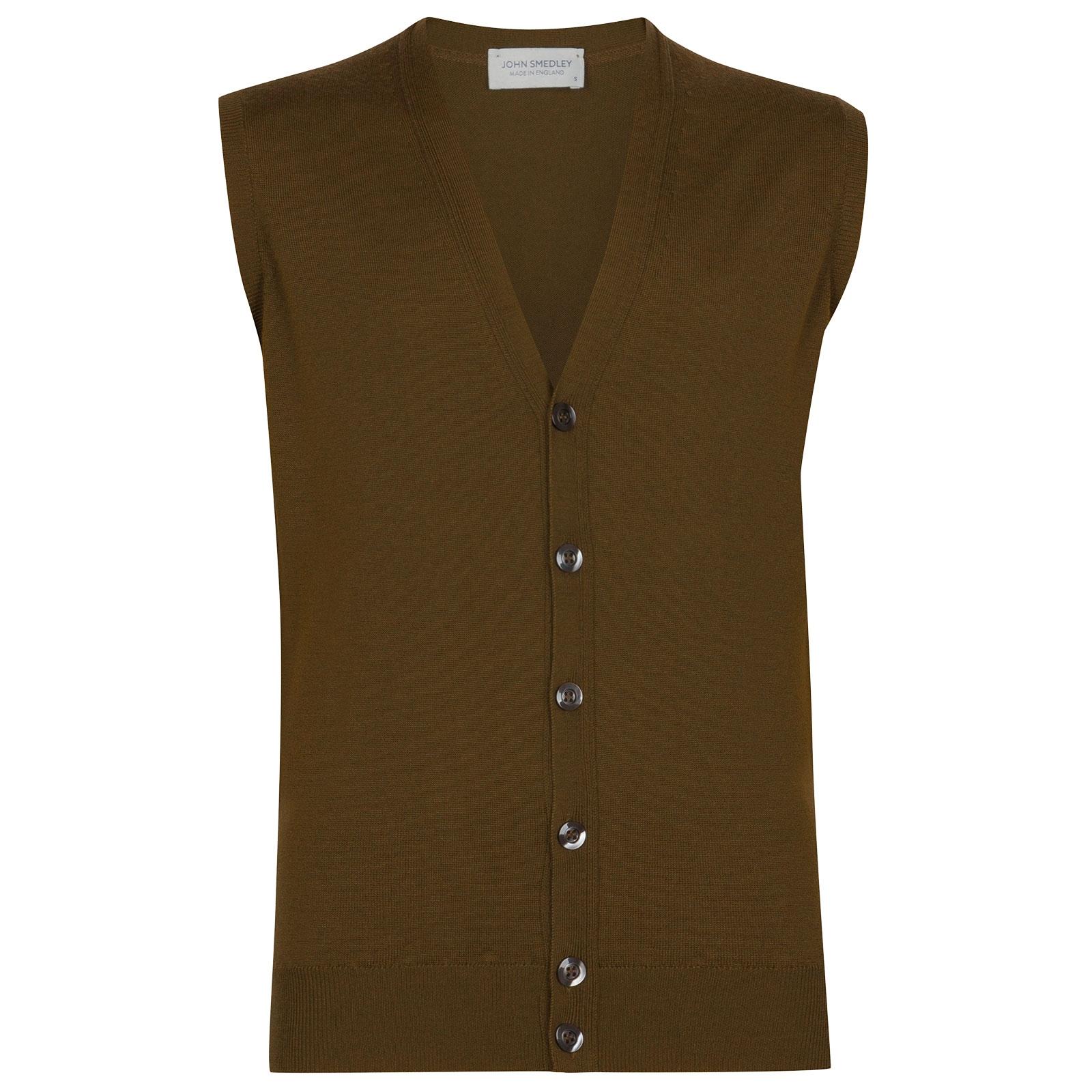 John Smedley Stavely Merino Wool Waistcoat in Khaki-XXL