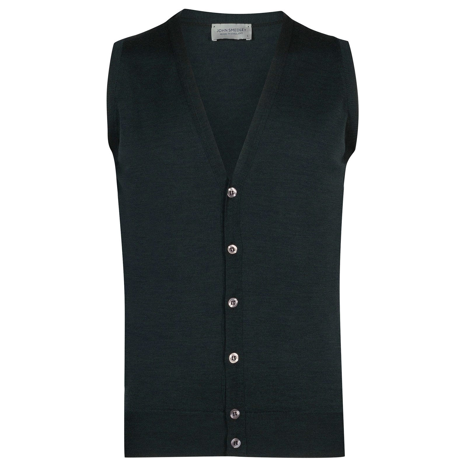 John Smedley stavely Merino Wool Waistcoat in Racing Green-XL