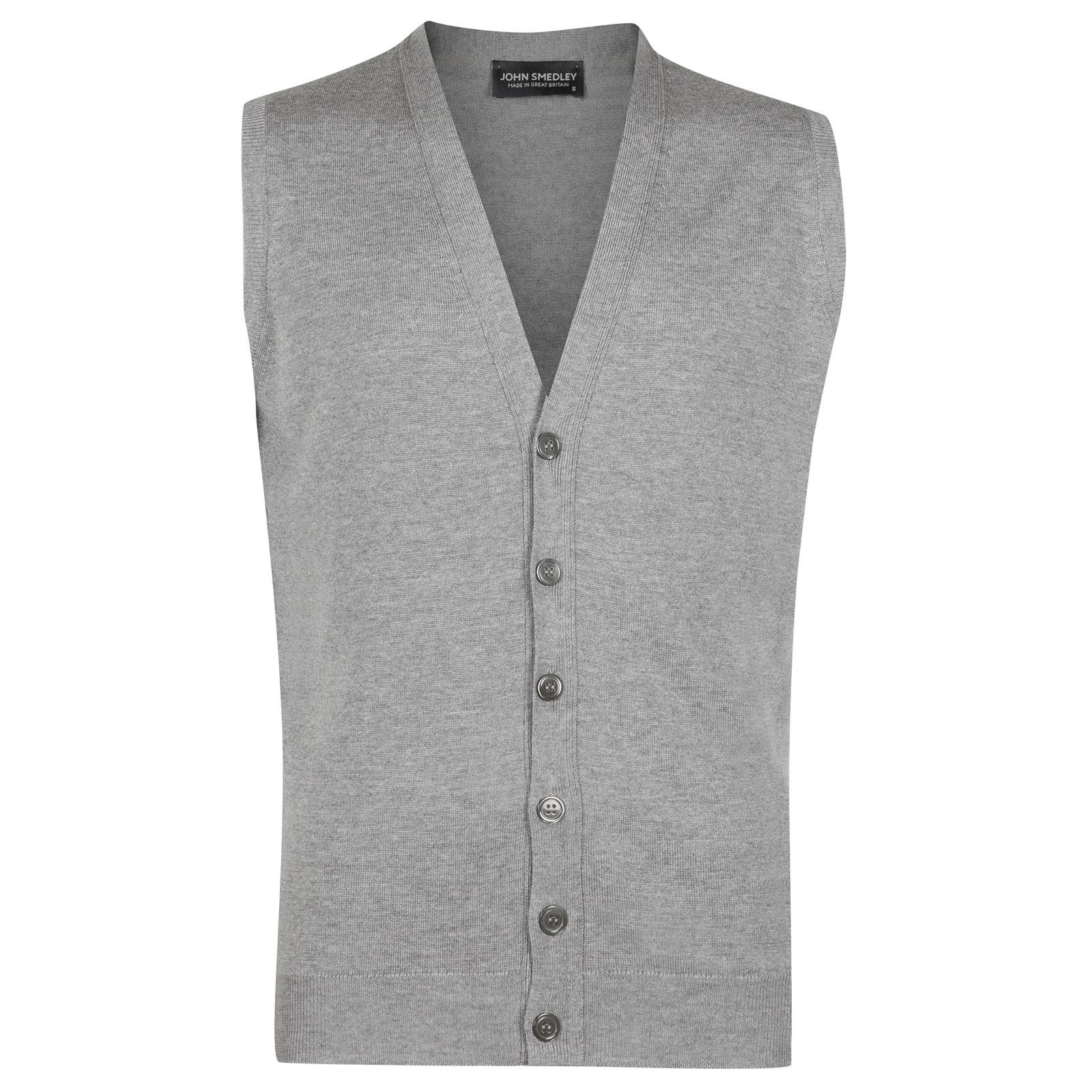 John Smedley stavely Merino Wool Waistcoat in Silver-S