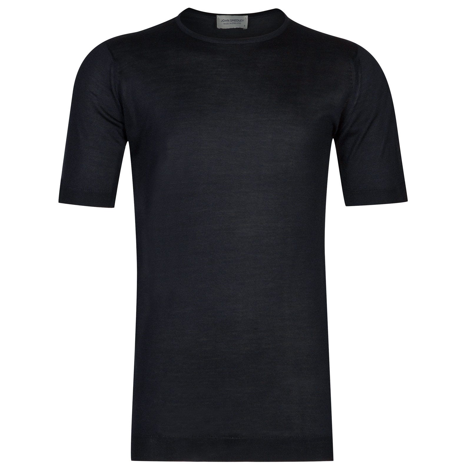 John Smedley stowe Pure Silk T-Shirt in Midnight-XL