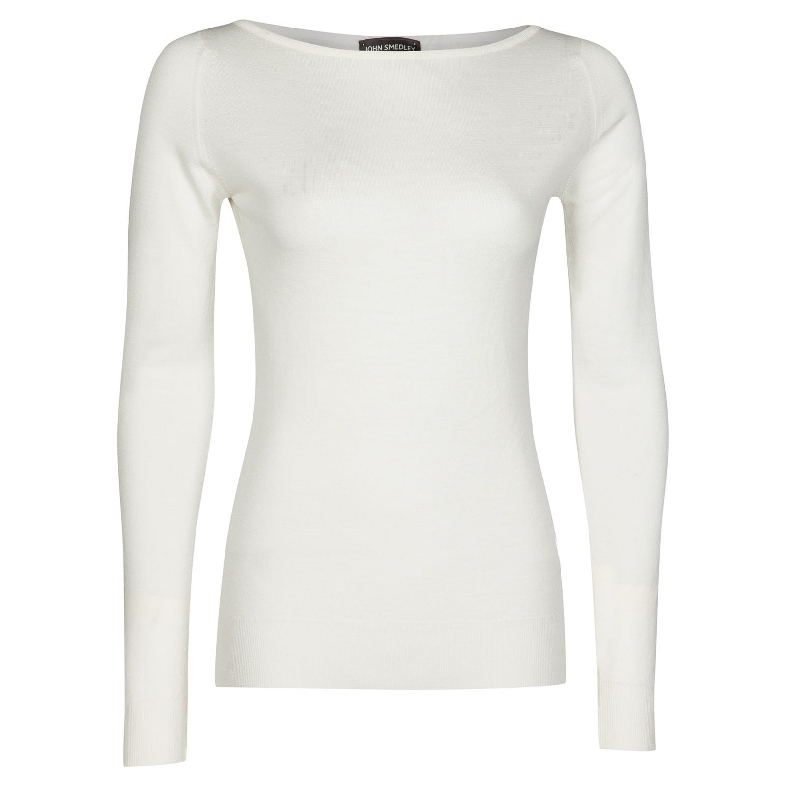 John Smedley Susan Merino Wool Sweater in Snow White-XL