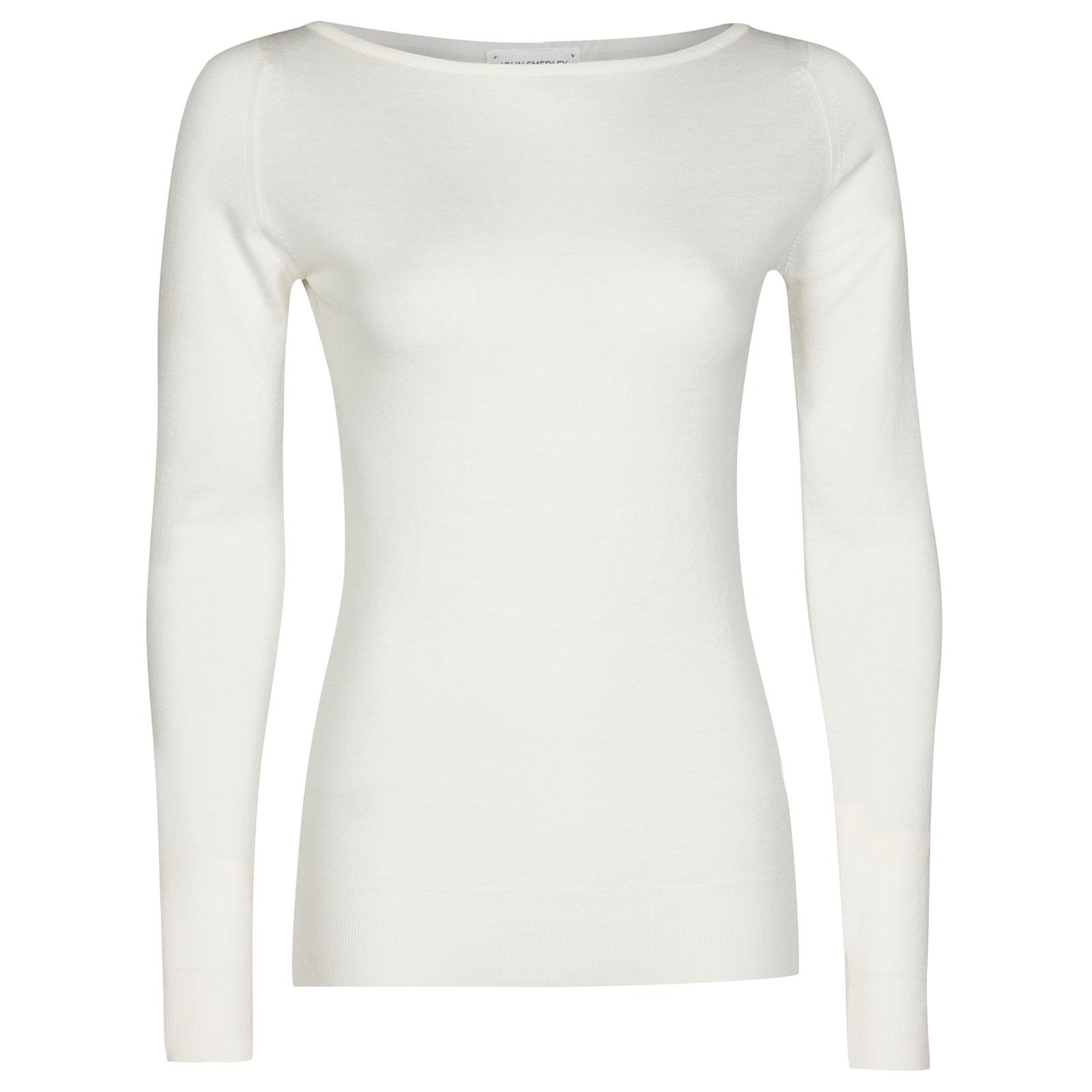 John Smedley Susan Merino Wool Sweater in Snow White-XL