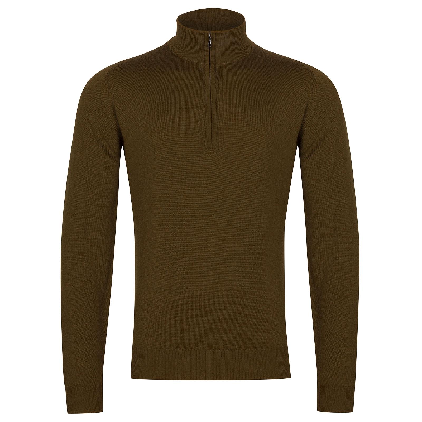 John Smedley Tapton Merino Wool Pullover in Khaki-S