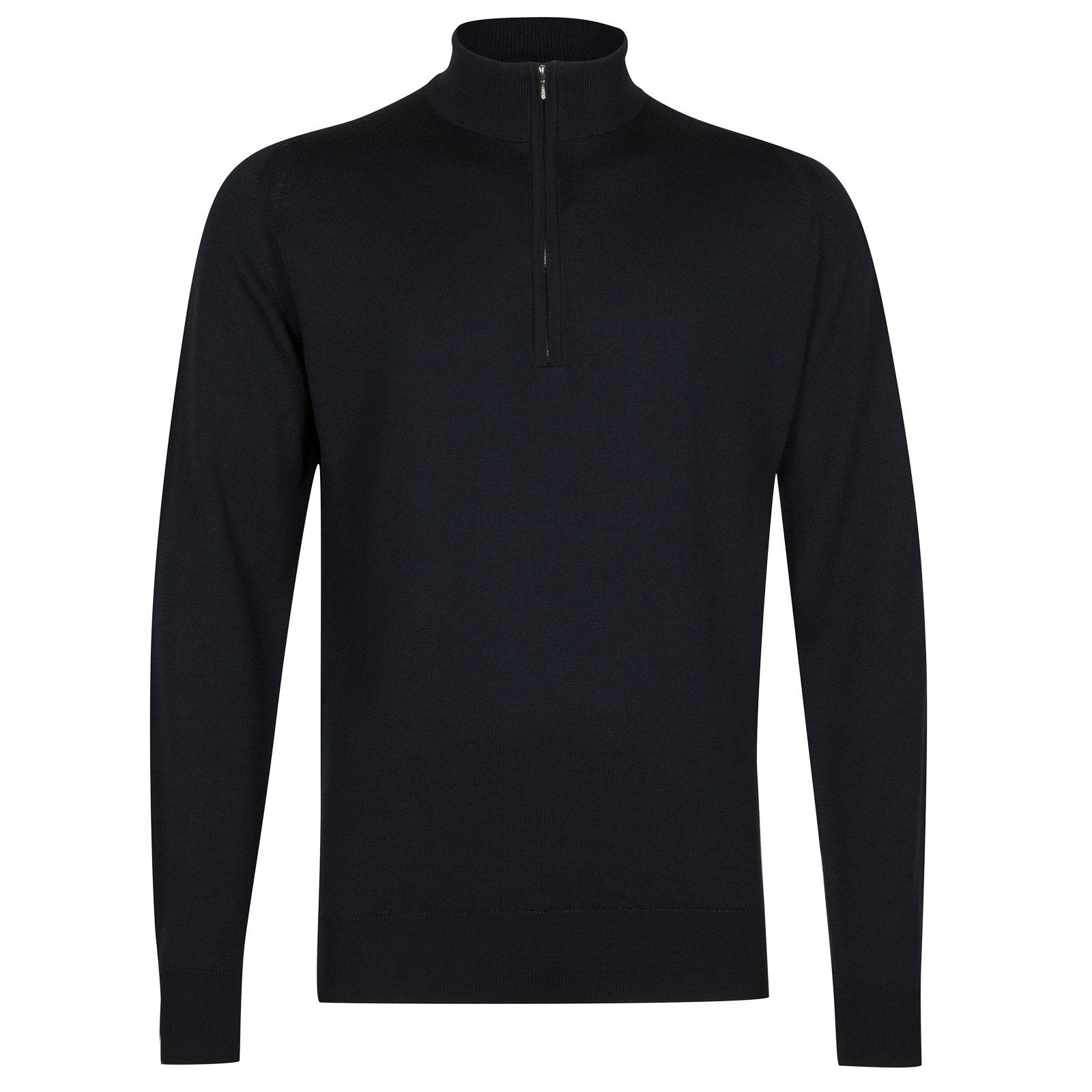 John Smedley tapton Merino Wool Pullover in Midnight-XL