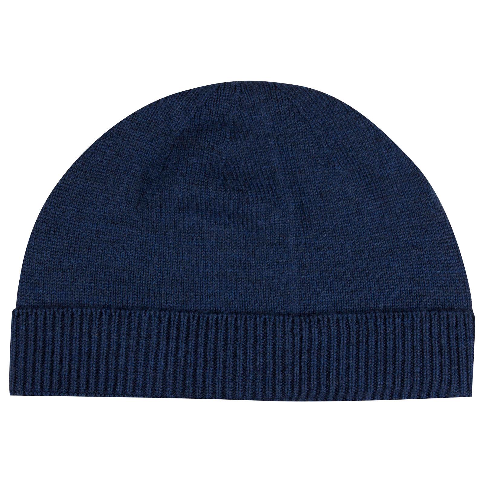 John Smedley Taurus Merino Wool Hat in Indigo-ONE