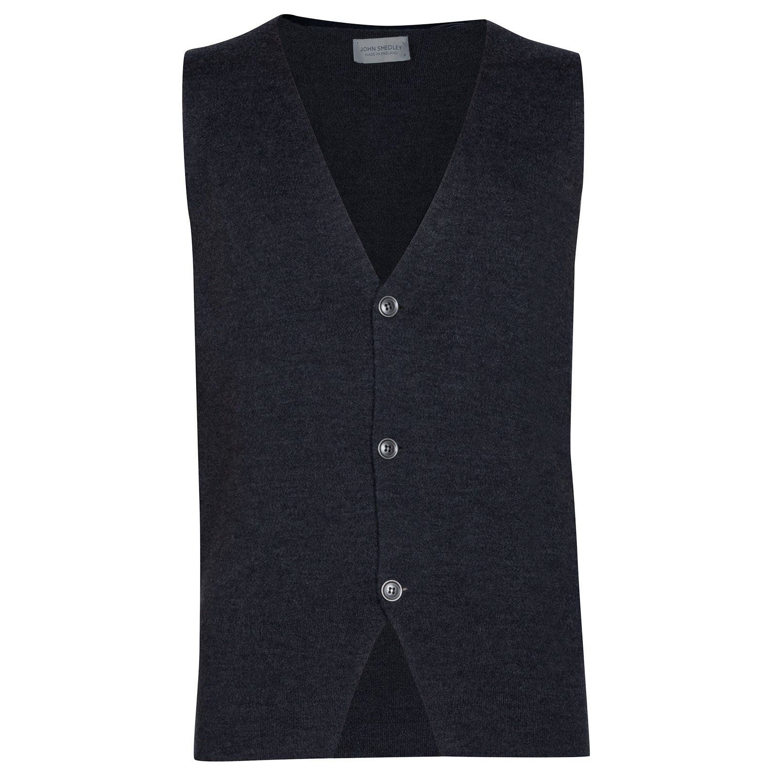 John Smedley Telford Merino Wool Waistcoat in Charcoal-XXL