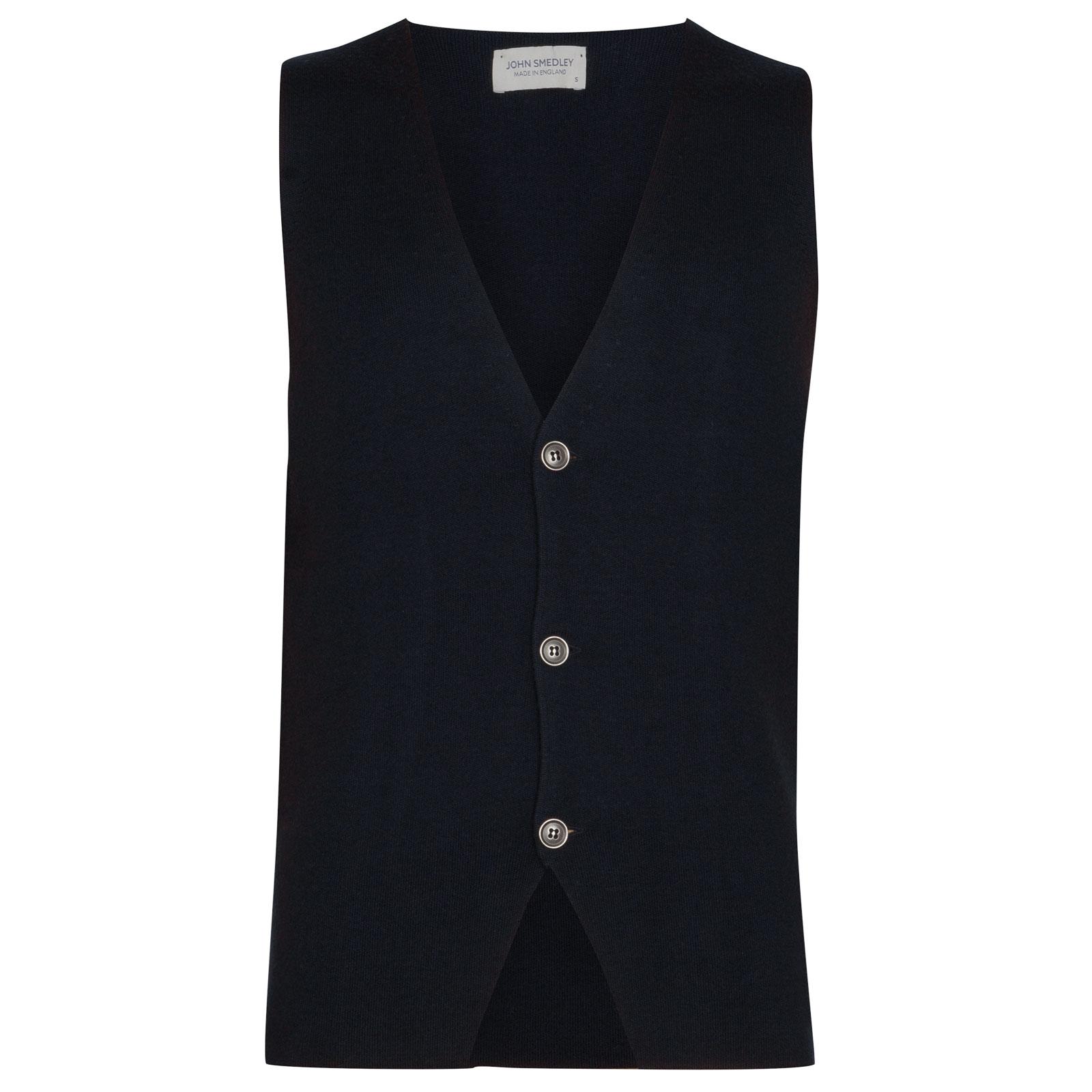 John Smedley Telford Merino Wool Waistcoat in Midnight-XL
