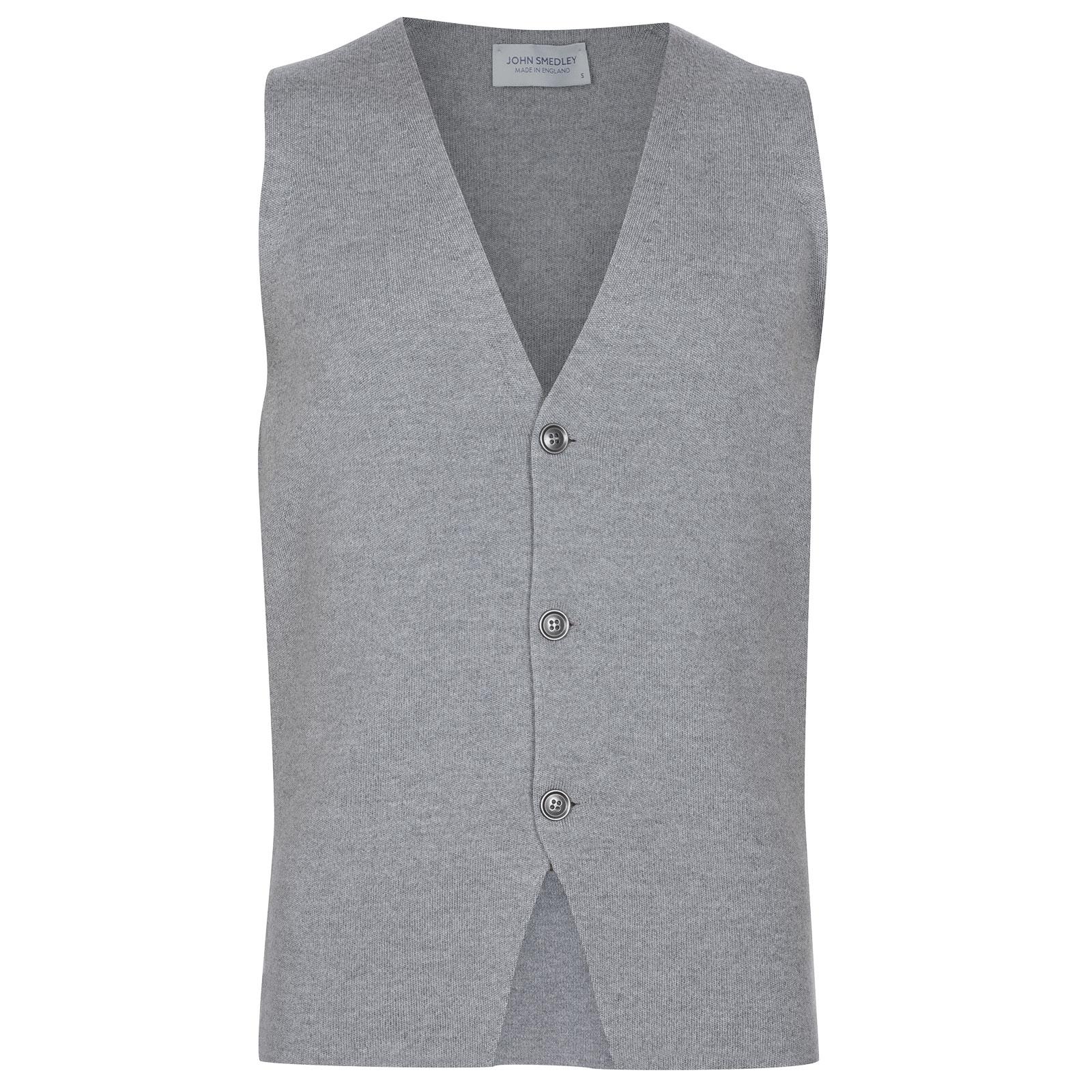 John Smedley Telford Merino Wool Waistcoat in Silver-XL