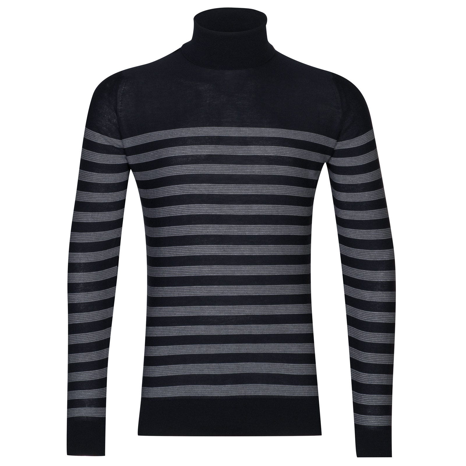 John Smedley tenby Sea Island Cotton Sweater in Navy/White-XXL