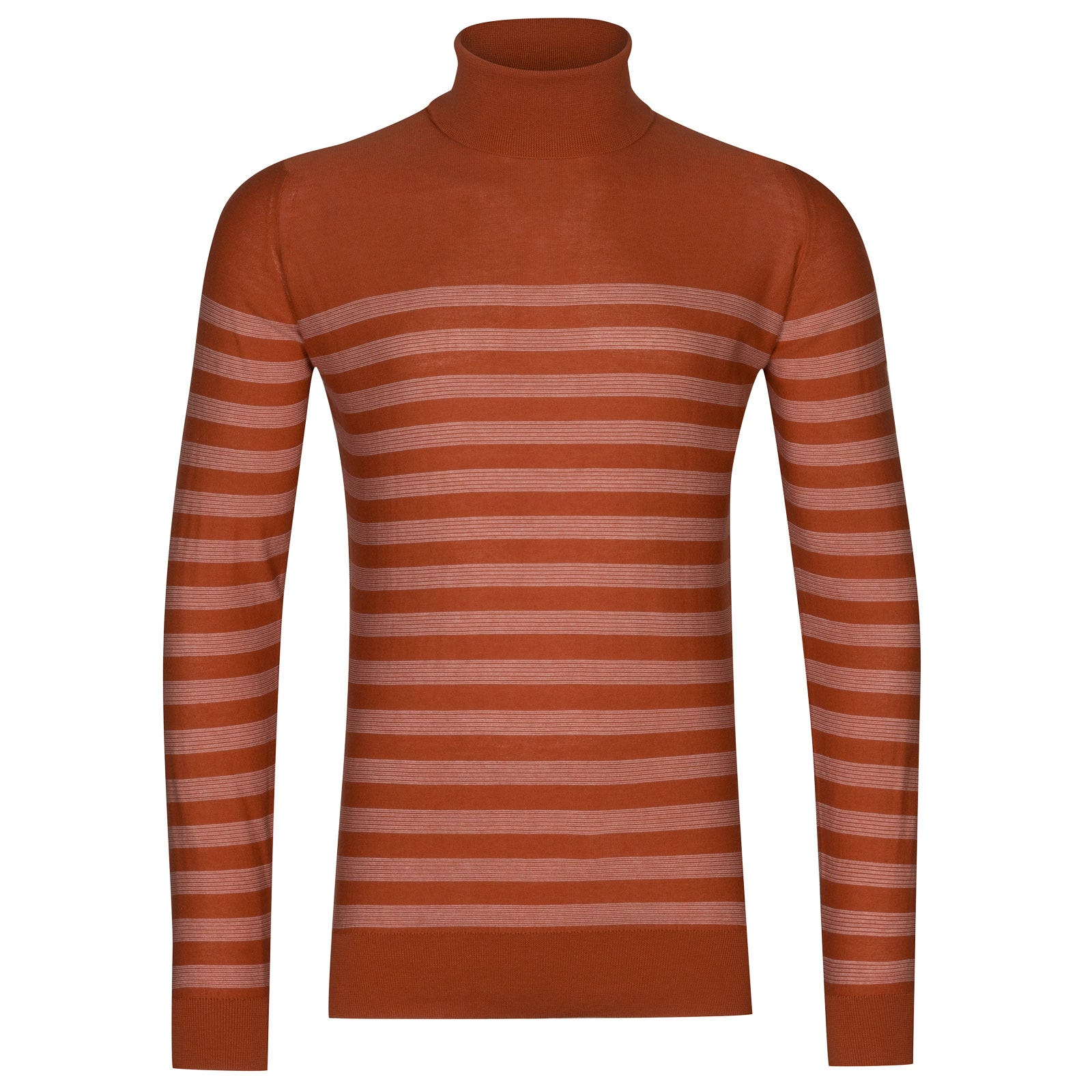 John Smedley tenby Sea Island Cotton Sweater in Flare Orange/White-XL