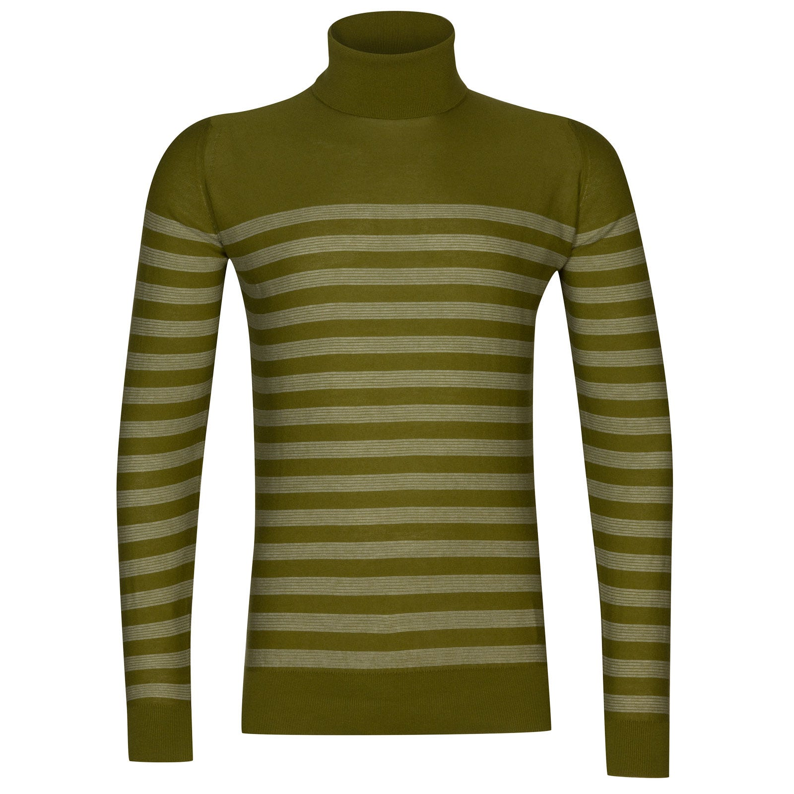 John Smedley tenby Sea Island Cotton Sweater in Lumsdale Green/White-M