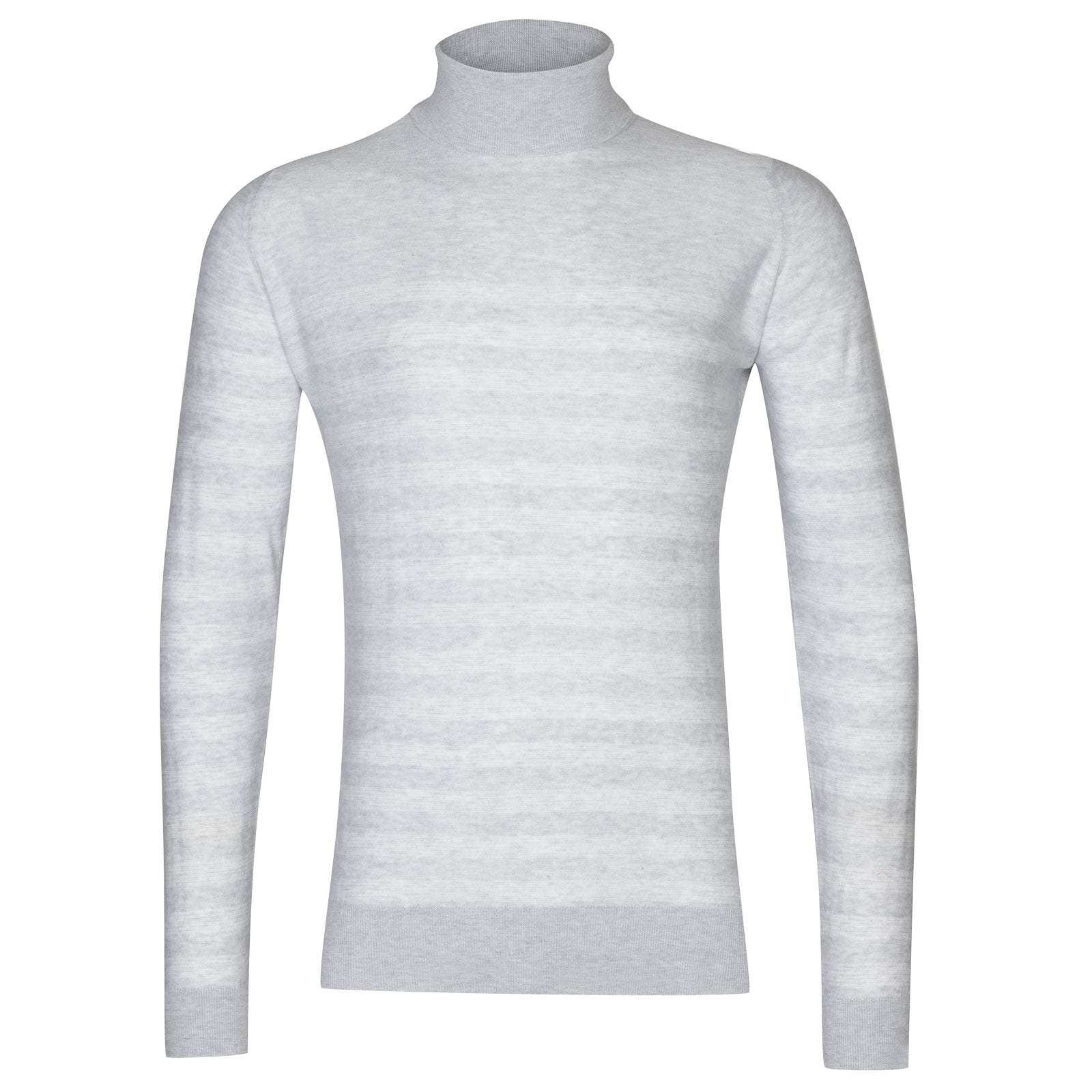 John Smedley tenby Sea Island Cotton Sweater in Feather Grey/White-XXL
