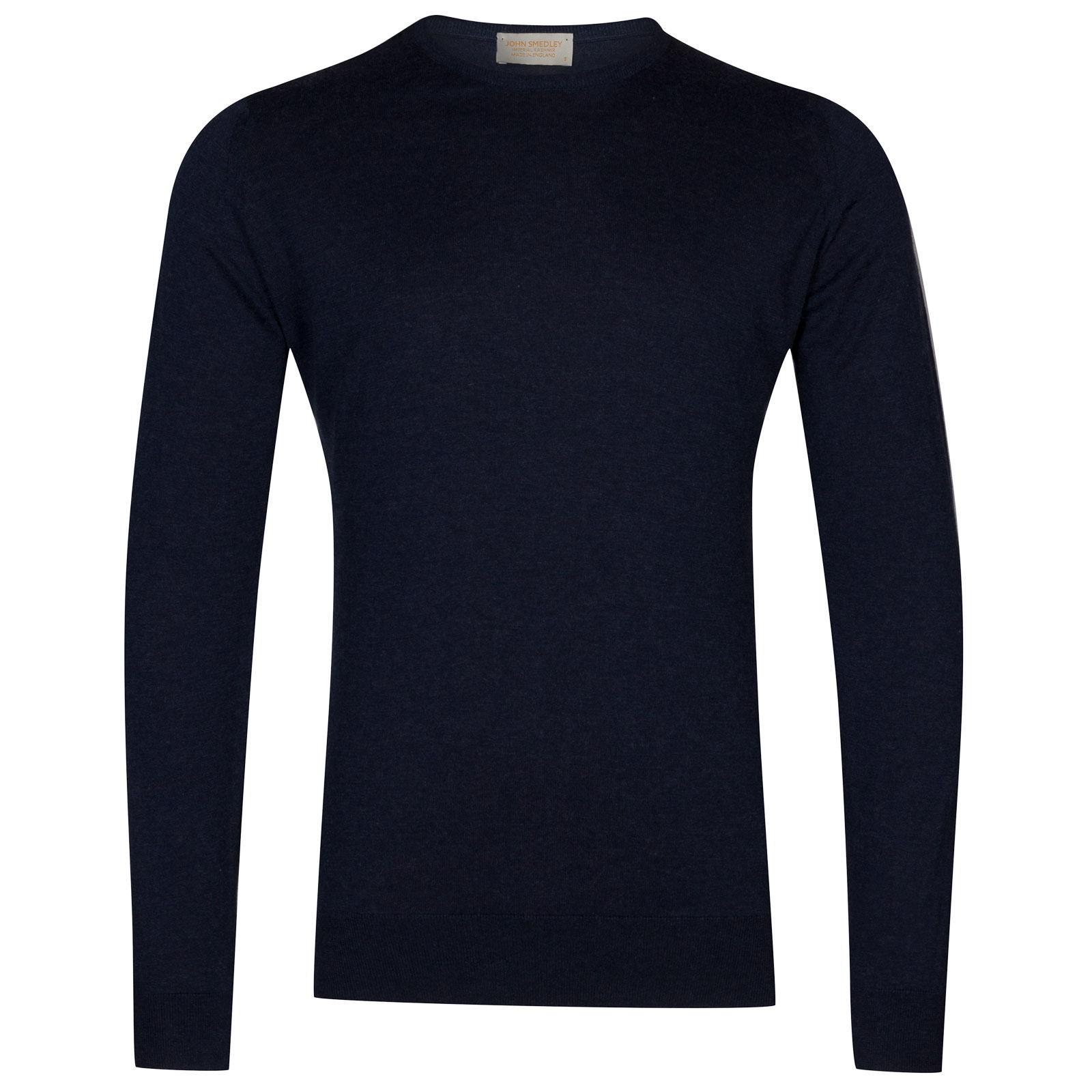 John Smedley theon Sea Island Cotton and Cashmere Pullover in Indigo-M