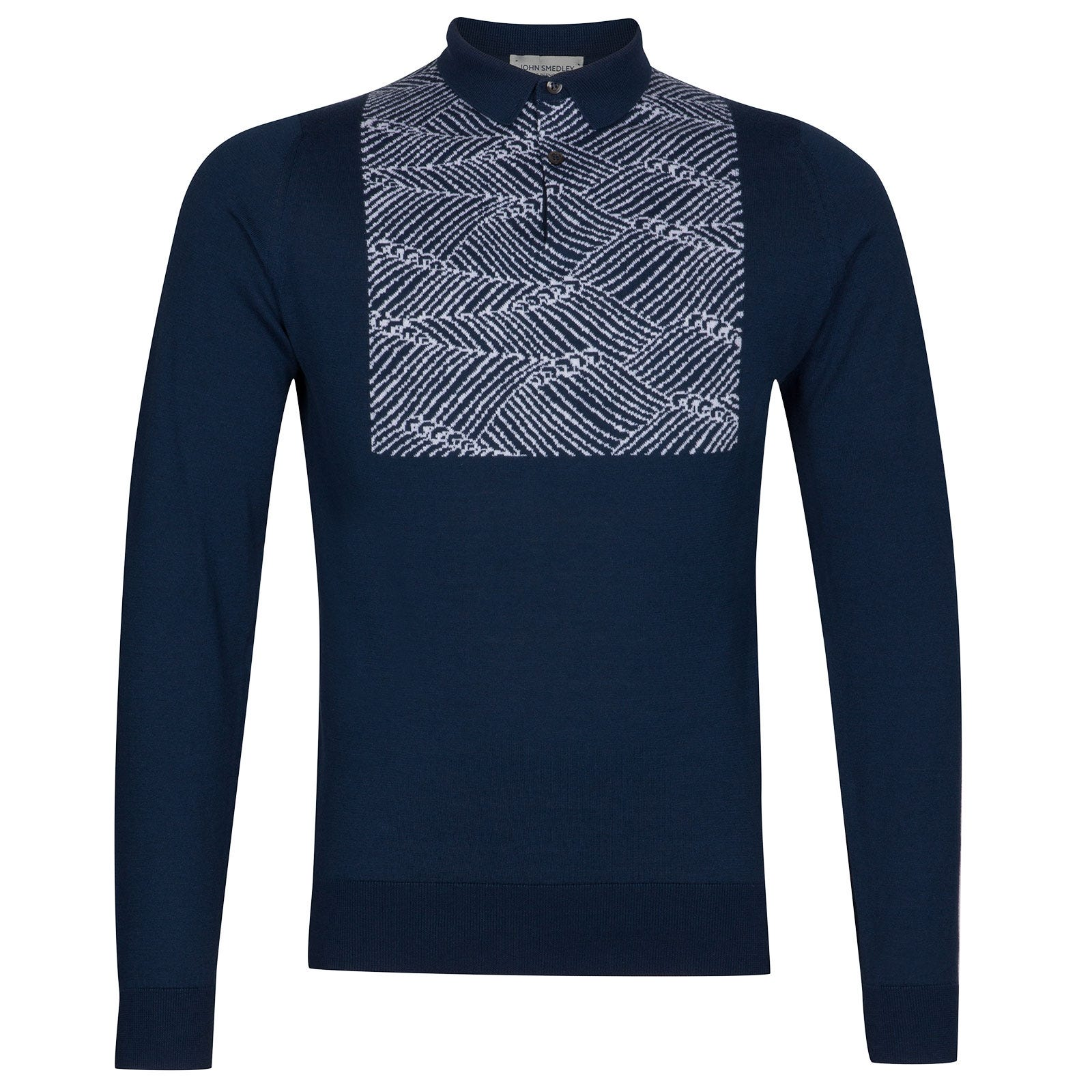 John Smedley Tickton Sea Island Cotton Polo Shirt in Indigo-SML