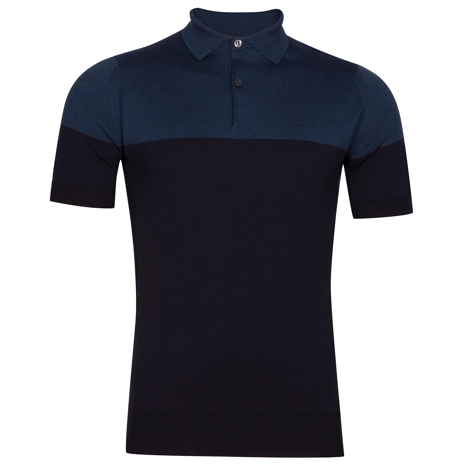 John Smedley Toller Extra Fine Merino Wool Shirt in Midnight-L