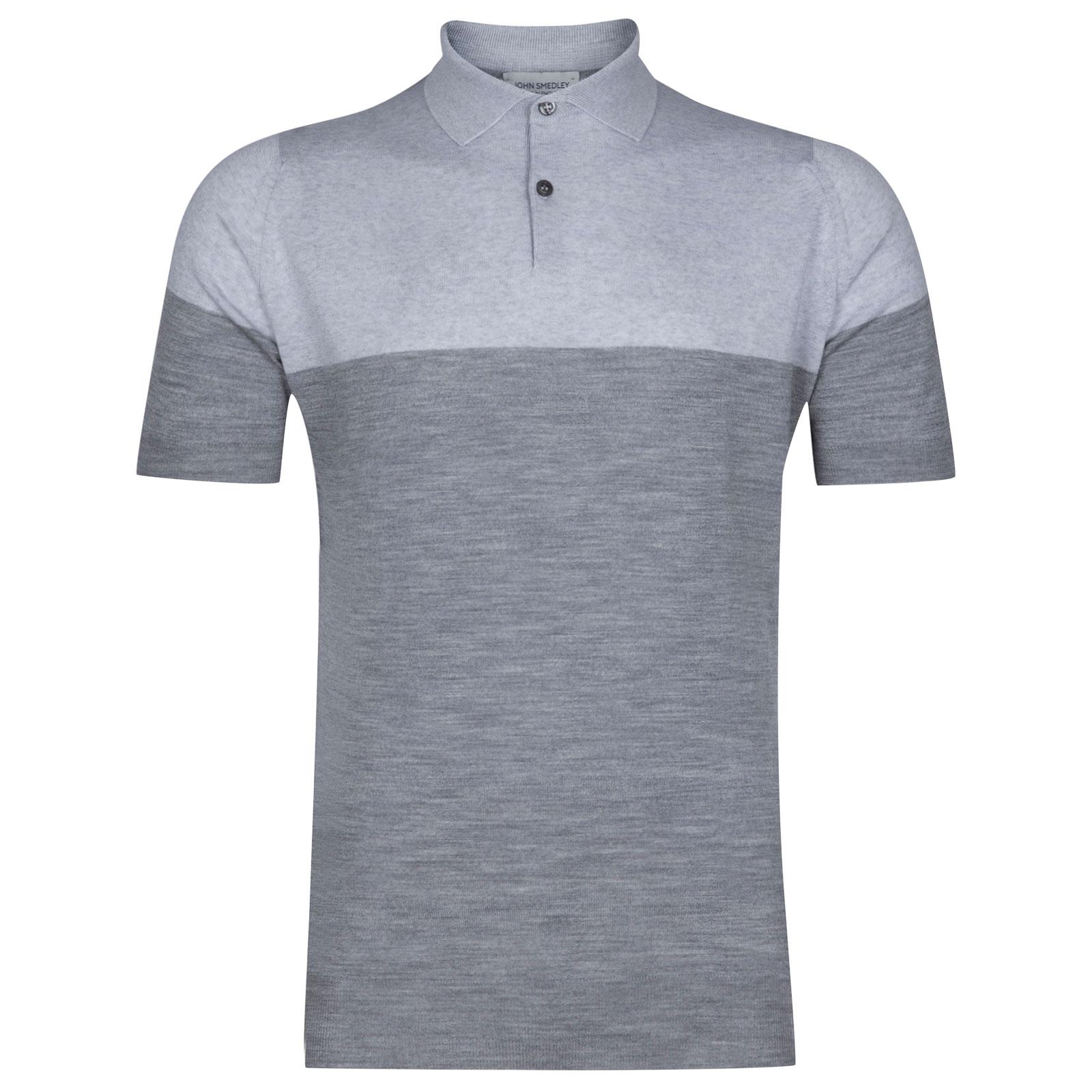 John Smedley Toller Extra Fine Merino Wool Shirt in Silver-XL