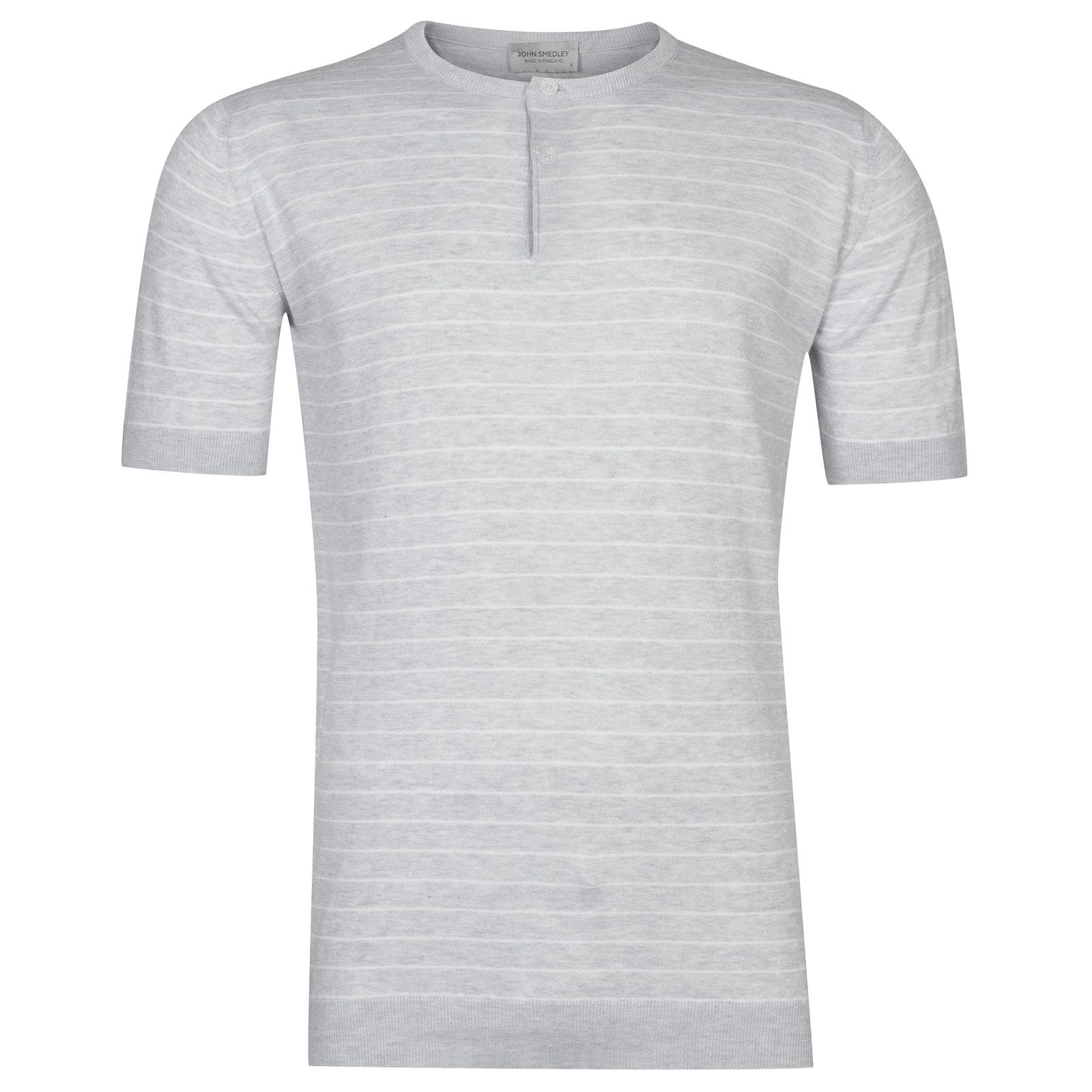 John Smedley Ungers in Feather Grey Henley Shirt -Xxl