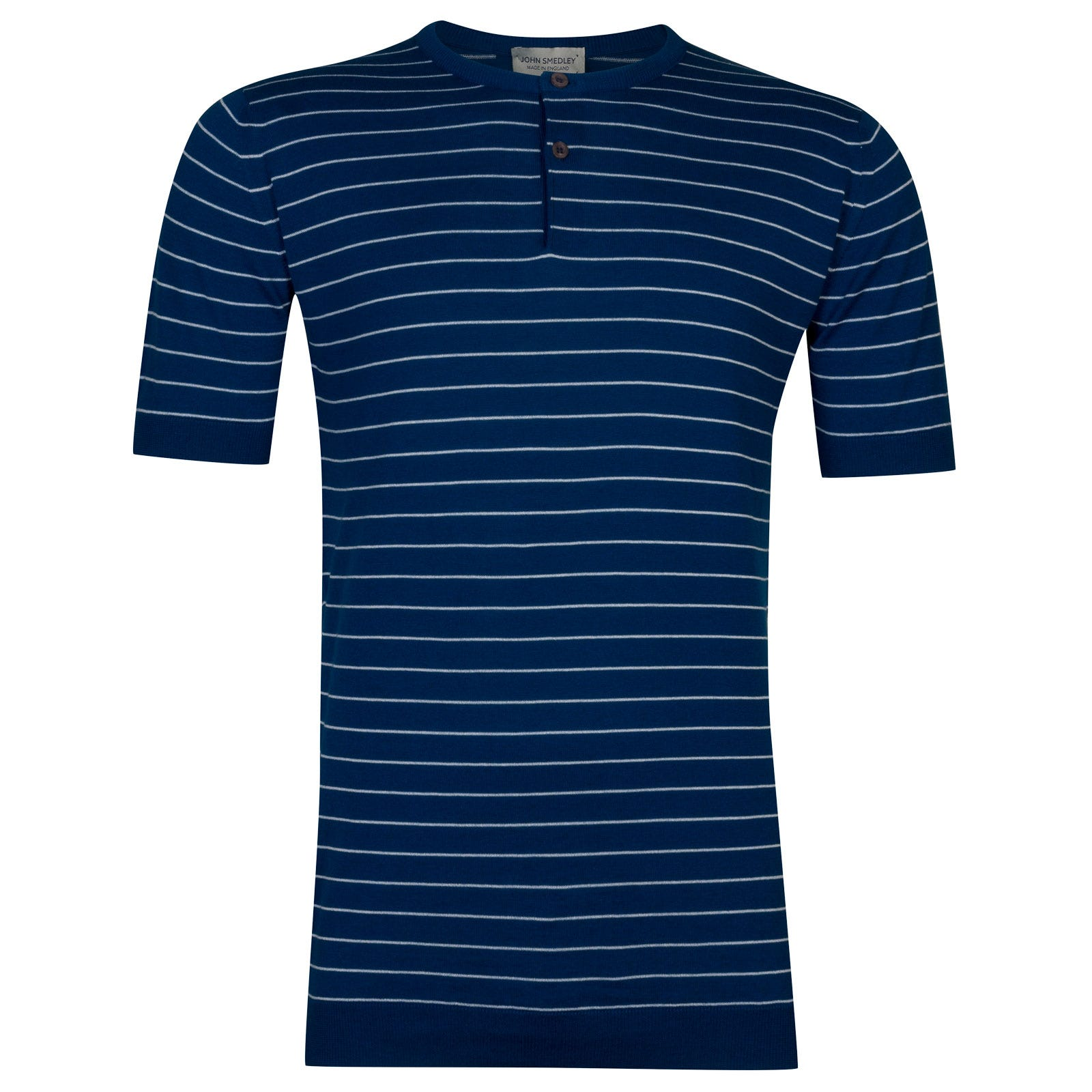 John Smedley Ungers in Stevens Blue Henley Shirt -M