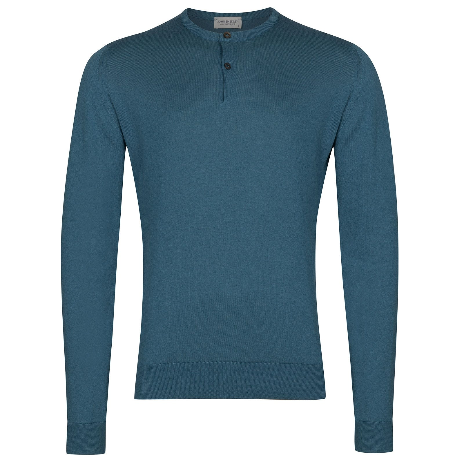John Smedley Wembury Sea Island Cotton Pullover in Bias Blue-XL