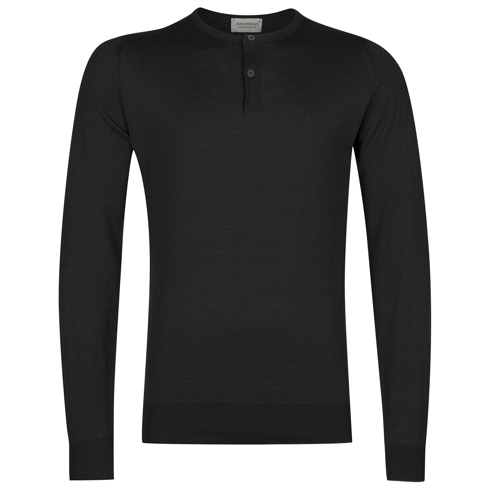 John Smedley Wembury Sea Island Cotton Pullover in Black-L