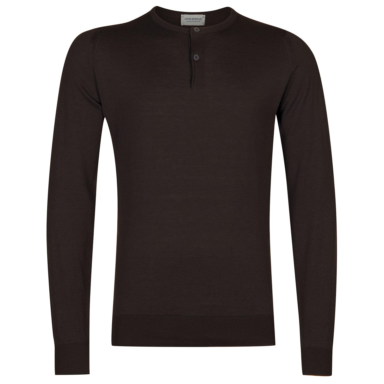 John Smedley Wembury Sea Island Cotton Pullover in Dark Leather-L