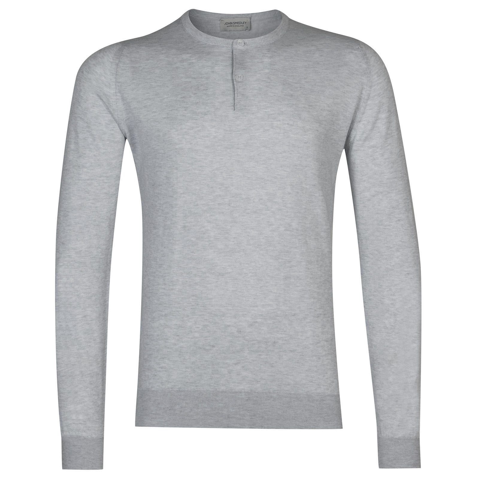 John Smedley Wembury Sea Island Cotton Pullover in Feather Grey-L
