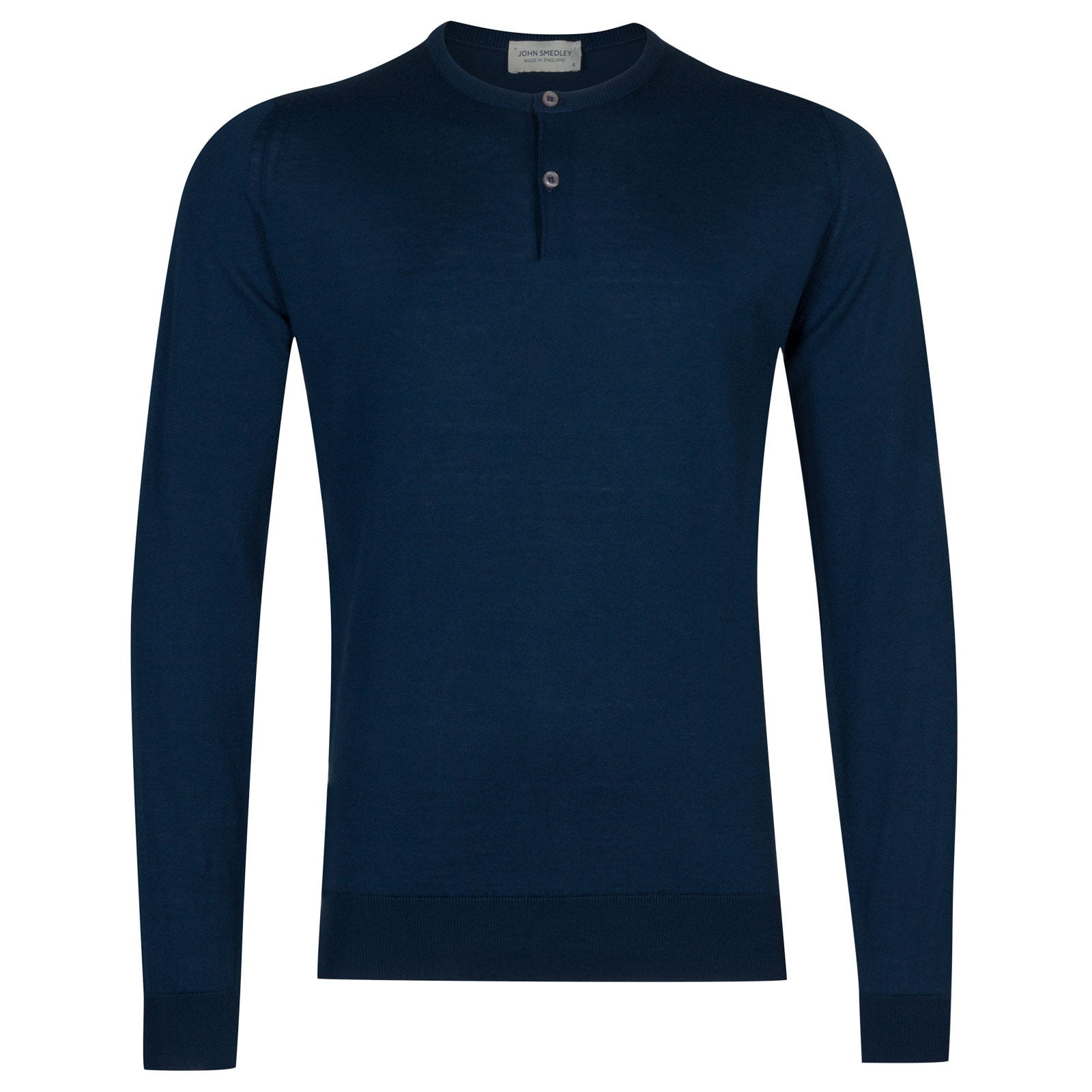 John Smedley Wembury Sea Island Cotton Pullover in Indigo-XL