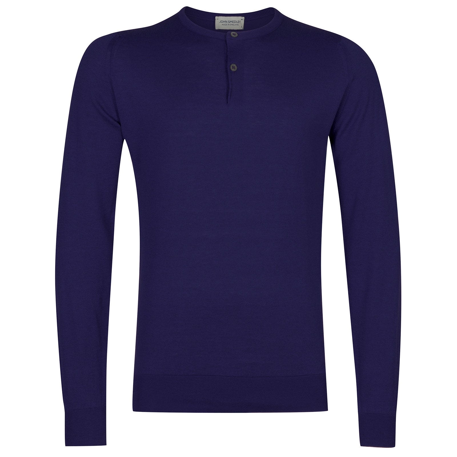 John Smedley Wembury Sea Island Cotton Pullover in Serge Blue-M