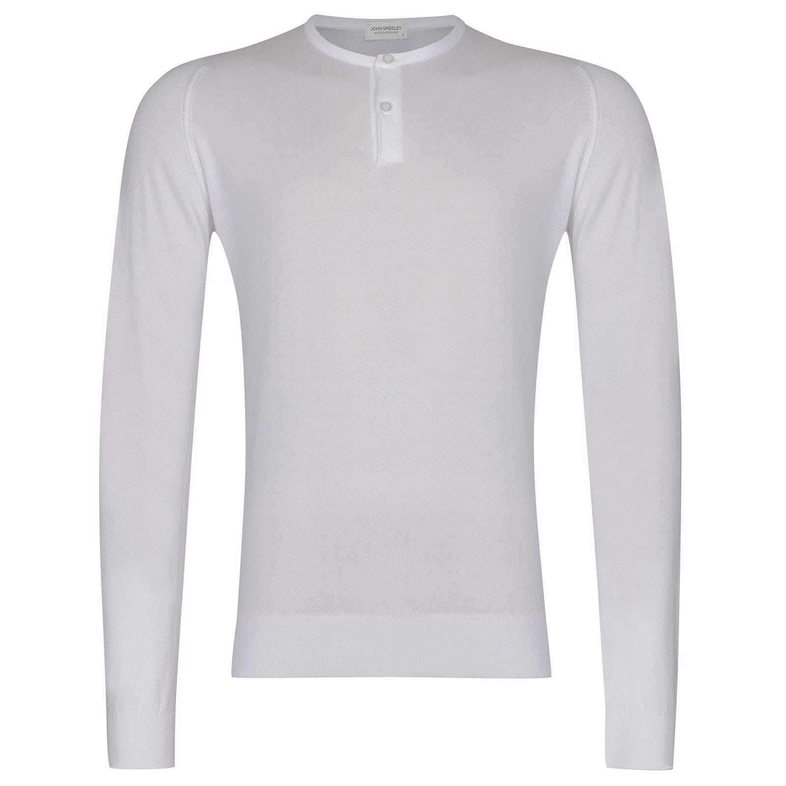 John Smedley Wembury Sea Island Cotton Pullover in White-S