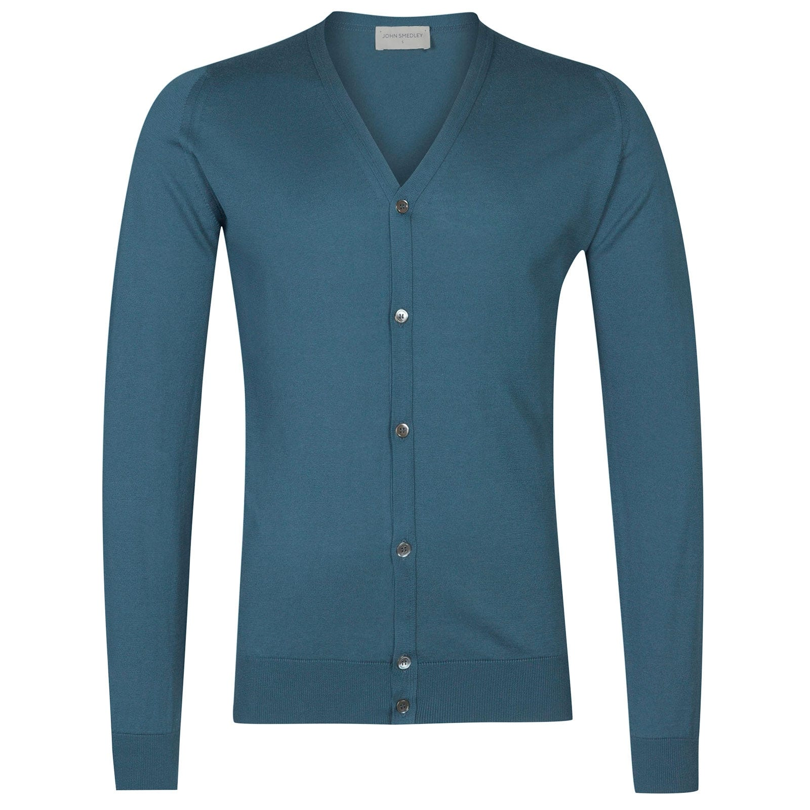 John Smedley Whitchurch Sea Island Cotton Cardigan in Bias Blue-S
