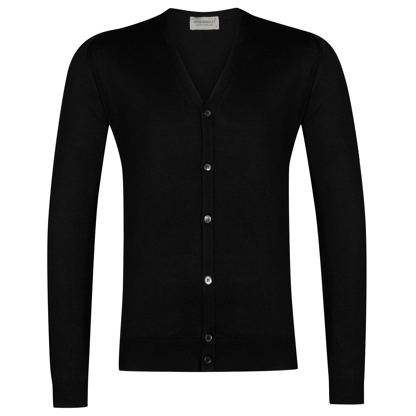 John Smedley whitchurch Sea Island Cotton Cardigan in Black-L