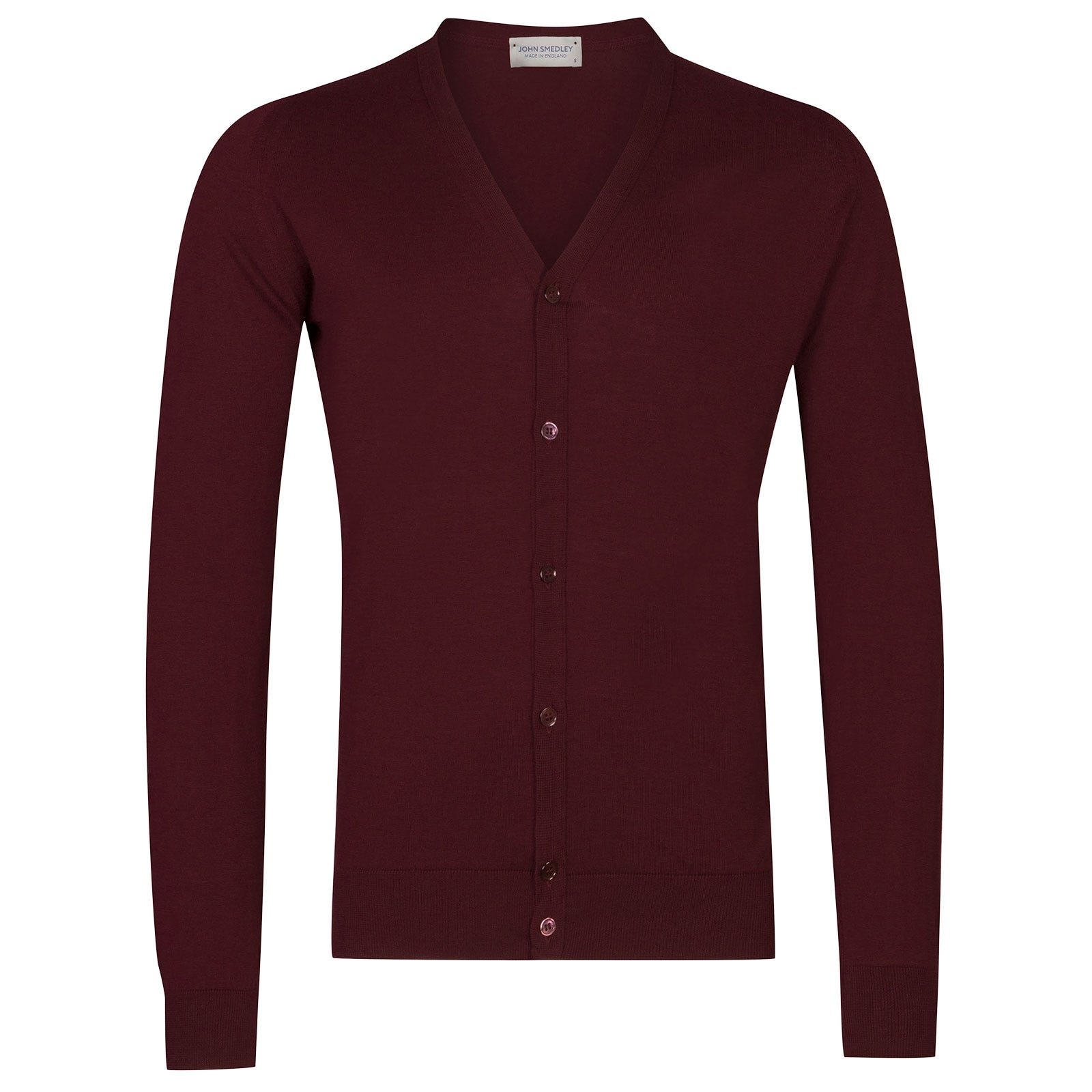 John Smedley Whitchurch Sea Island Cotton Cardigan in Bordeaux-M