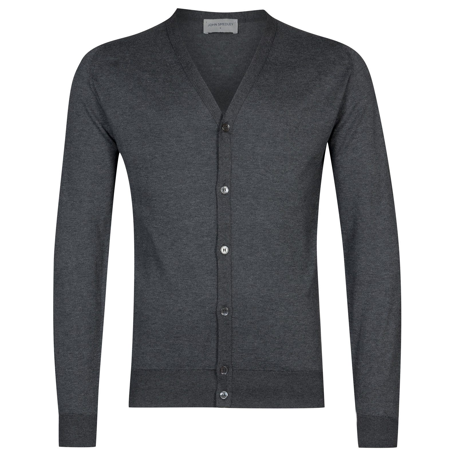John Smedley whitchurch Sea Island Cotton Cardigan in Charcoal-L
