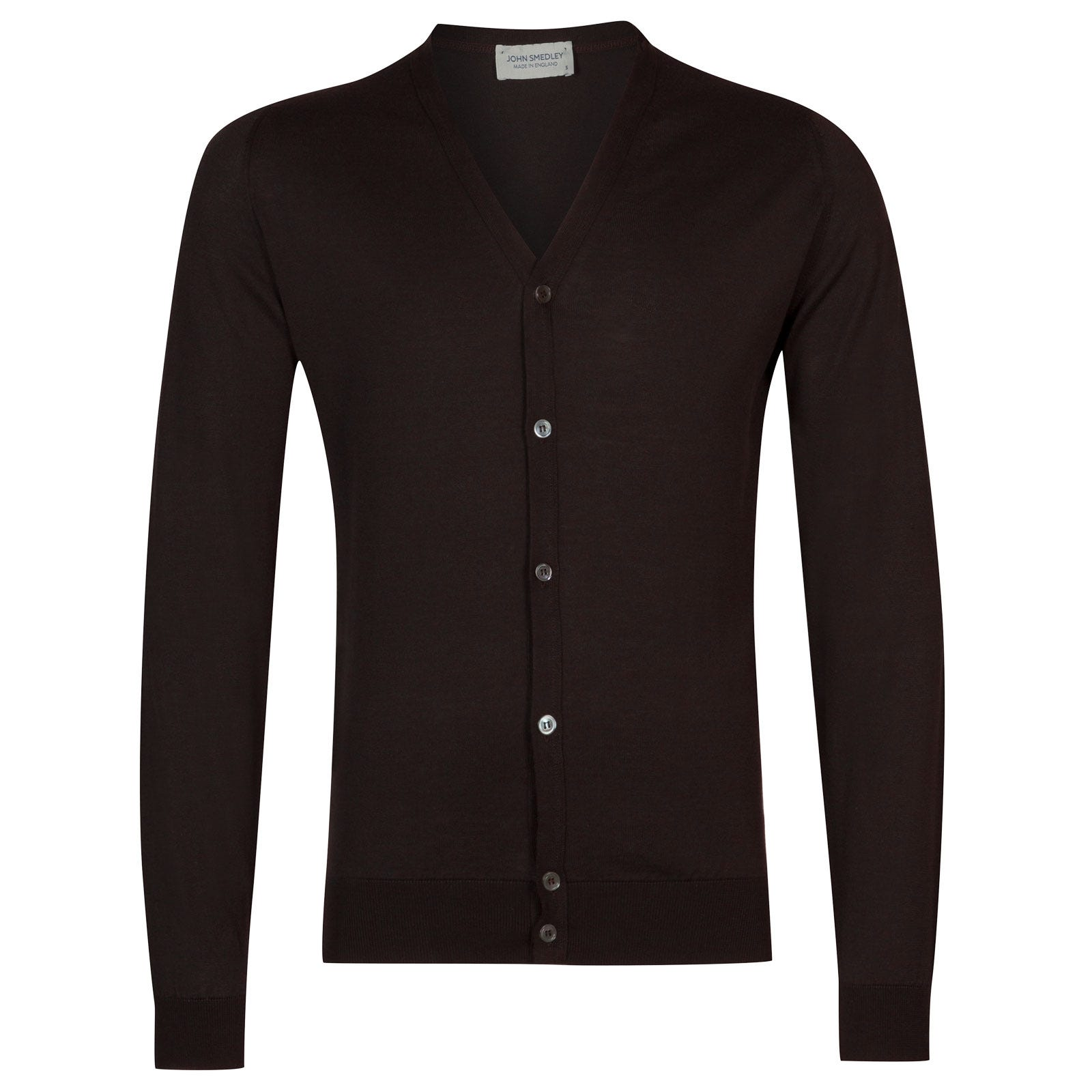 John Smedley Whitchurch in Dark Leather Cardigan-LGE