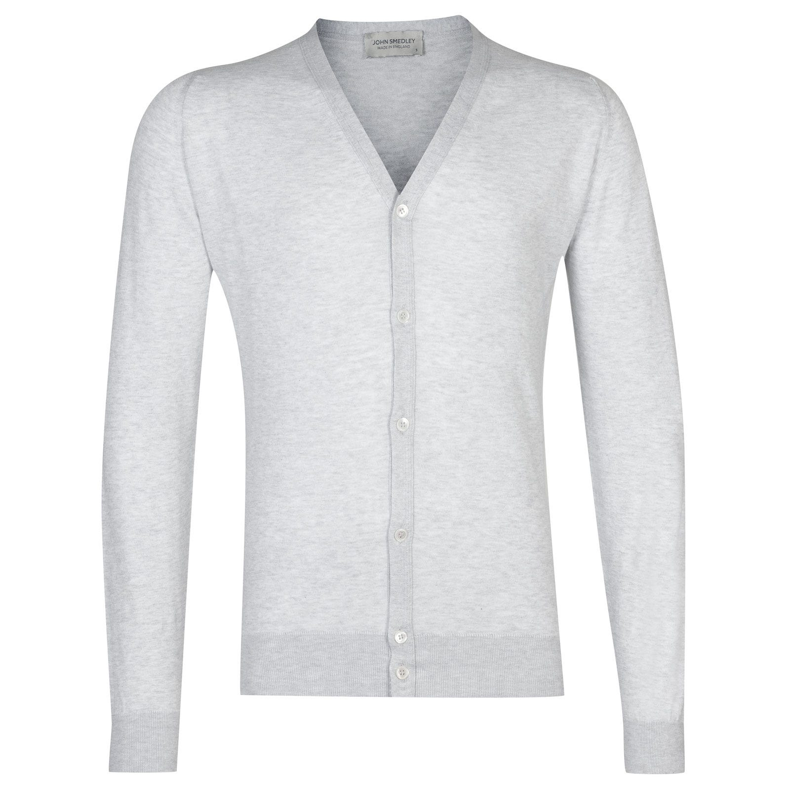 John Smedley whitchurch Sea Island Cotton Cardigan in Feather Grey-M