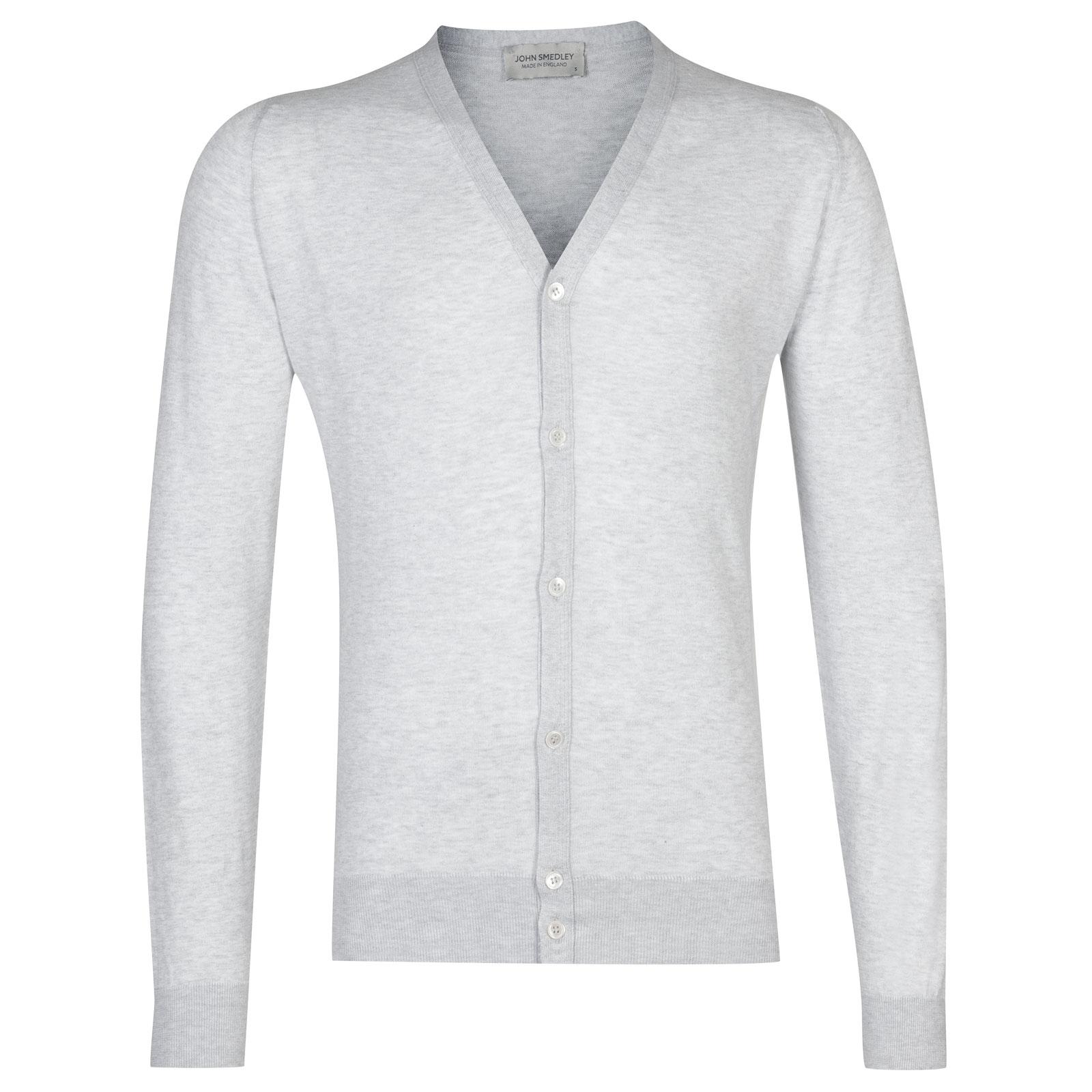 John Smedley whitchurch Sea Island Cotton Cardigan in Feather Grey-XL