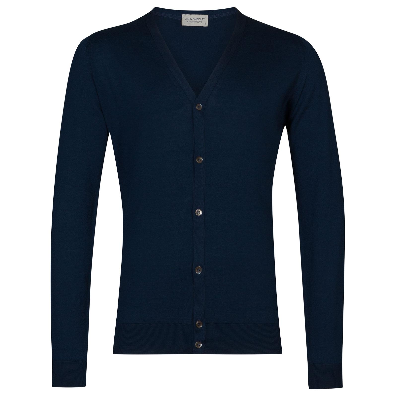 John Smedley whitchurch Sea Island Cotton Cardigan in Indigo-XL