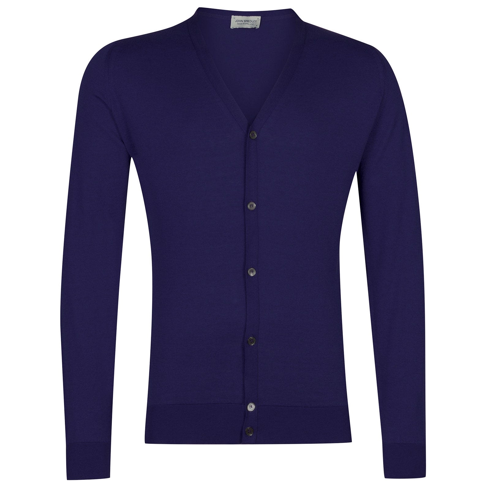 John Smedley Whitchurch Sea Island Cotton Cardigan in Serge Blue-XL