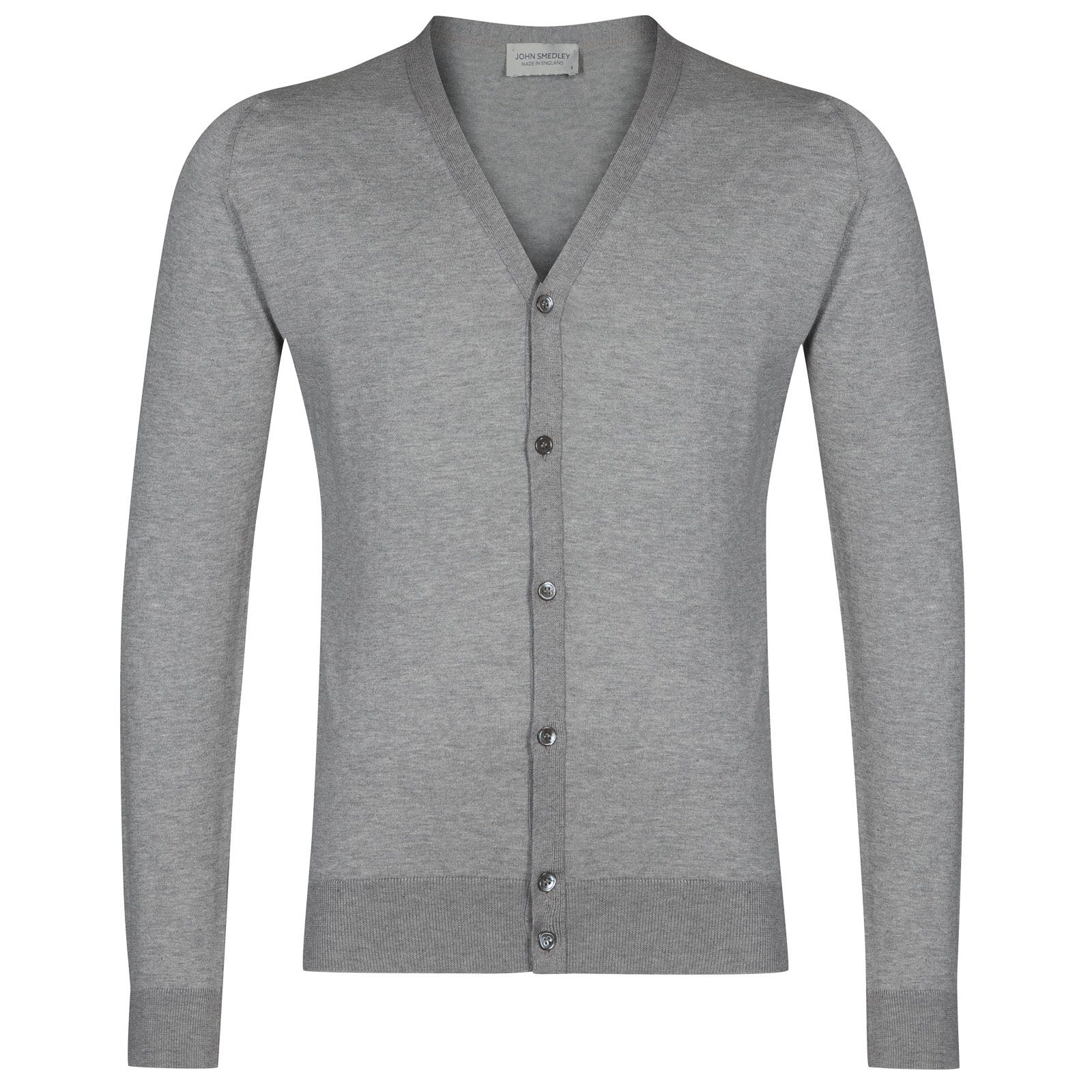 John Smedley whitchurch Sea Island Cotton Cardigan in Silver-XXL
