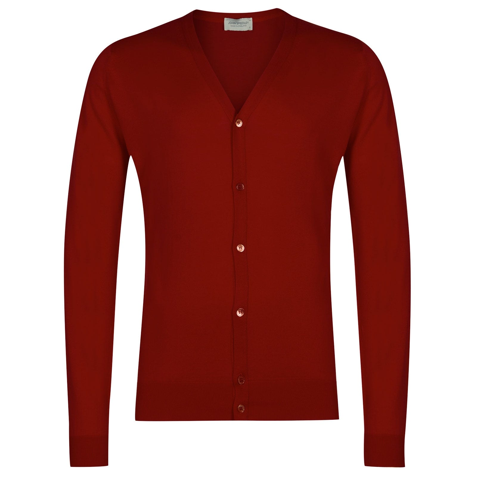 John Smedley Whitchurch Sea Island Cotton Cardigan in Thermal Red-XXL