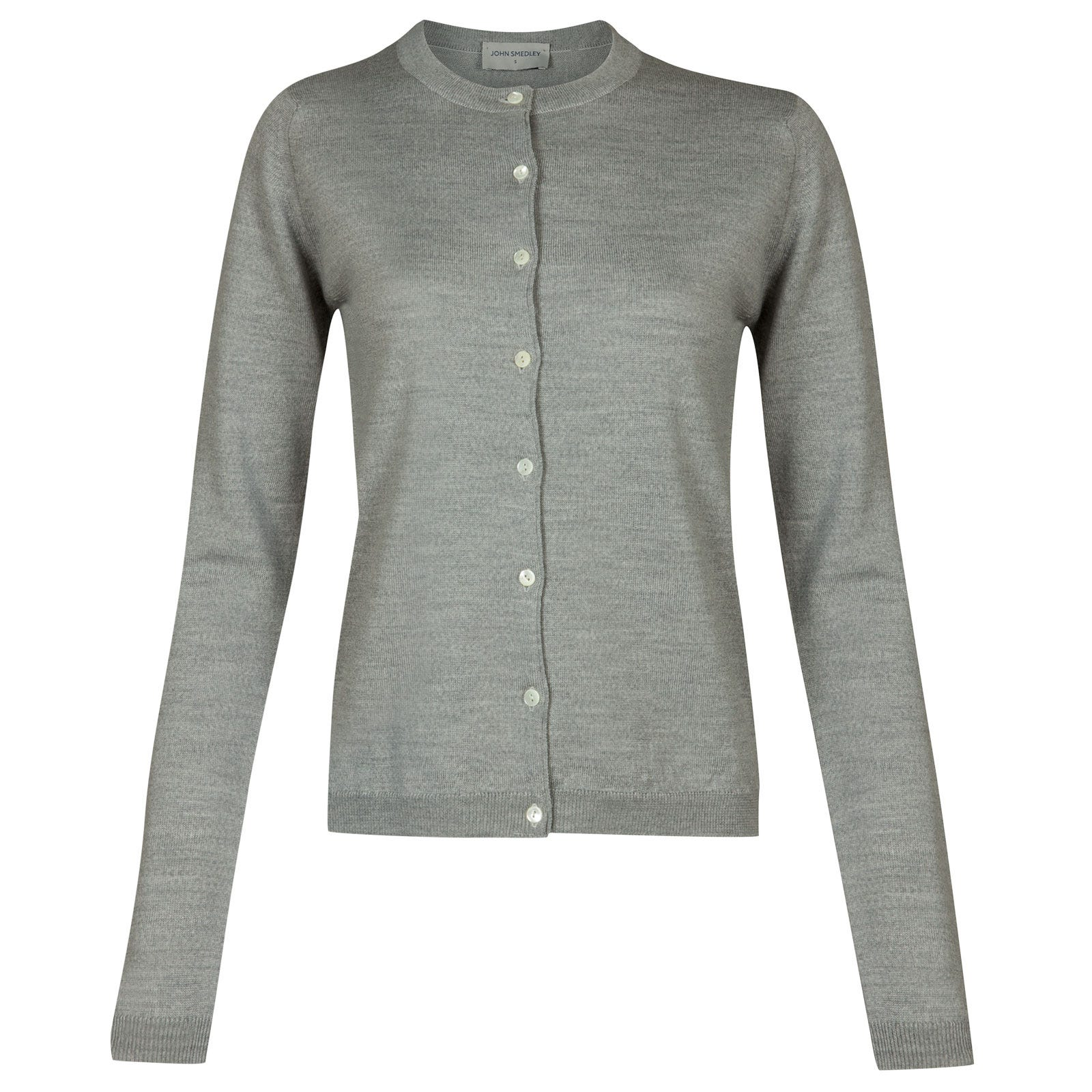 John Smedley willa Merino Wool Cardigan in Bardot Grey-L