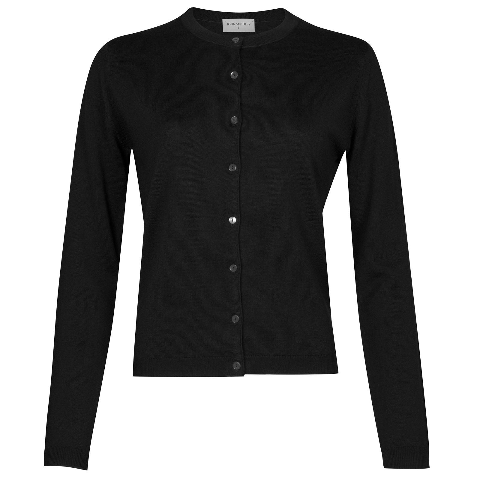 John Smedley willa Merino Wool Cardigan in Black-XL
