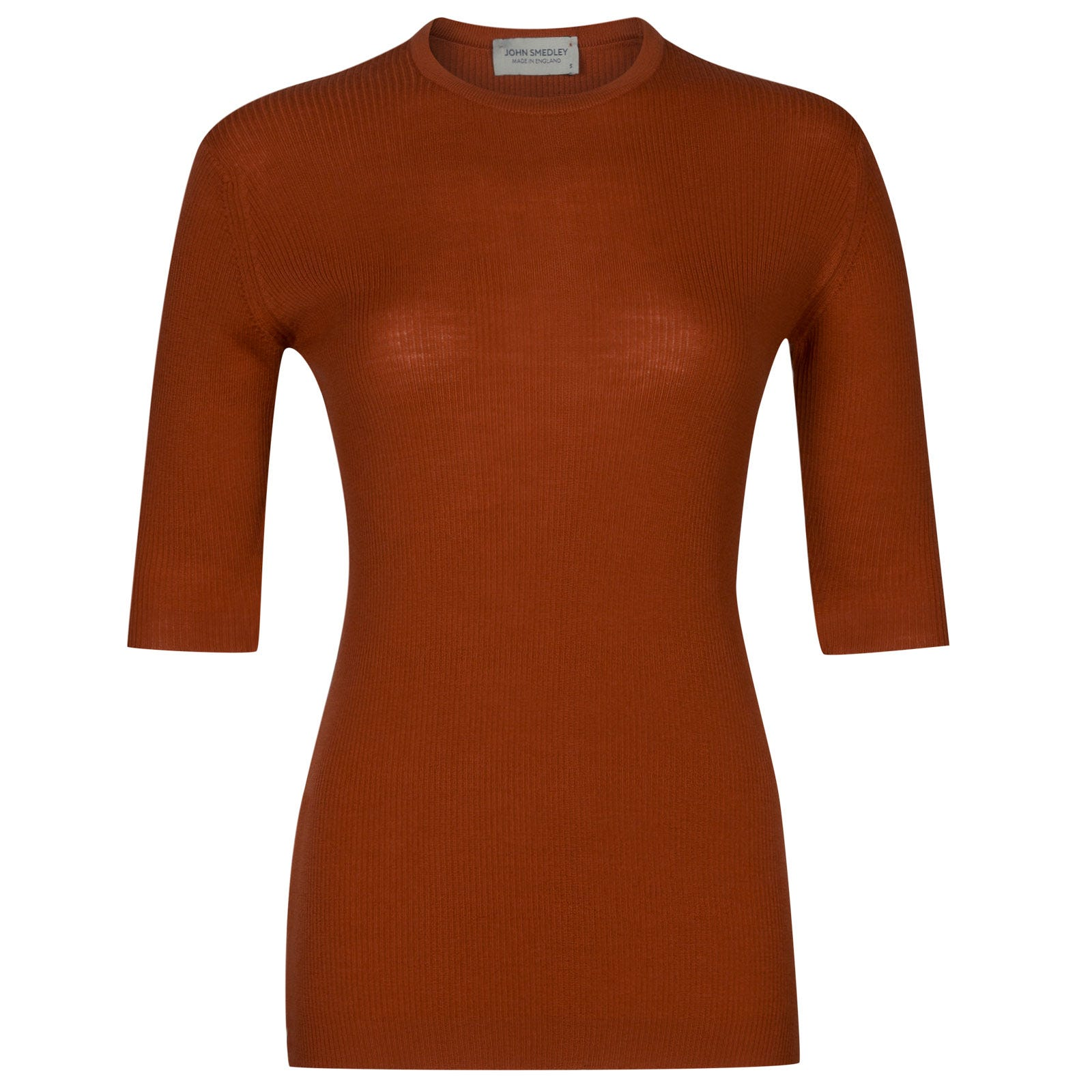 John Smedley wilis Merino Wool Sweater in Flare Orange-L