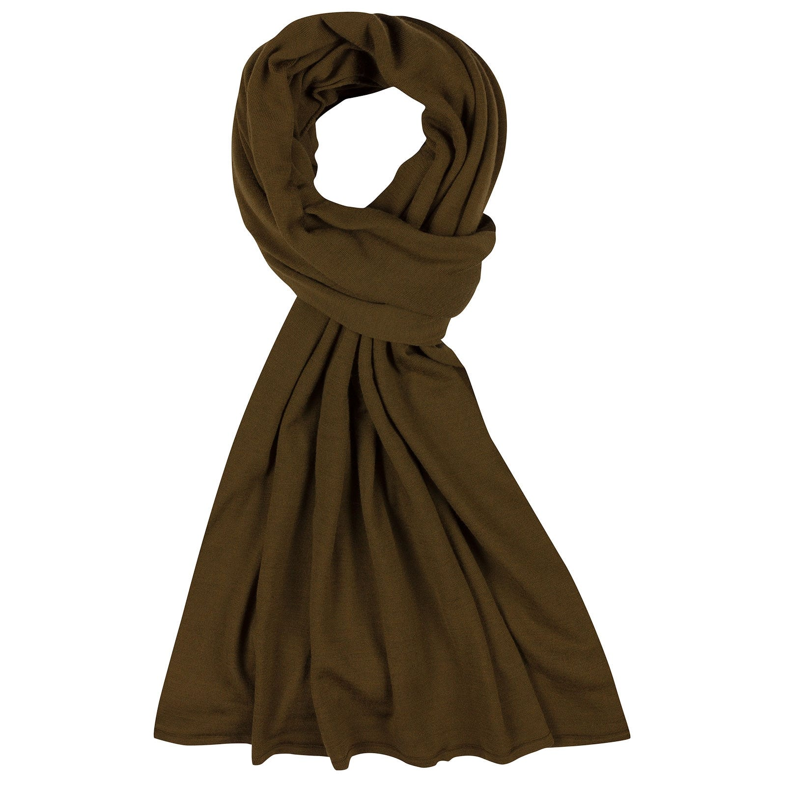 John Smedley Wings Merino Wool Shawl in Khaki-ONE