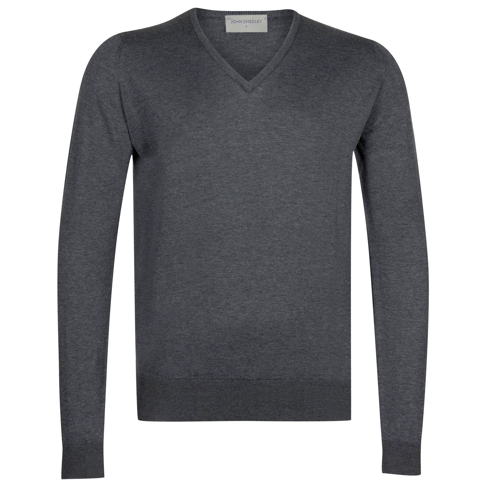 John Smedley Woburn Sea Island Cotton Pullover in Charcoal-L