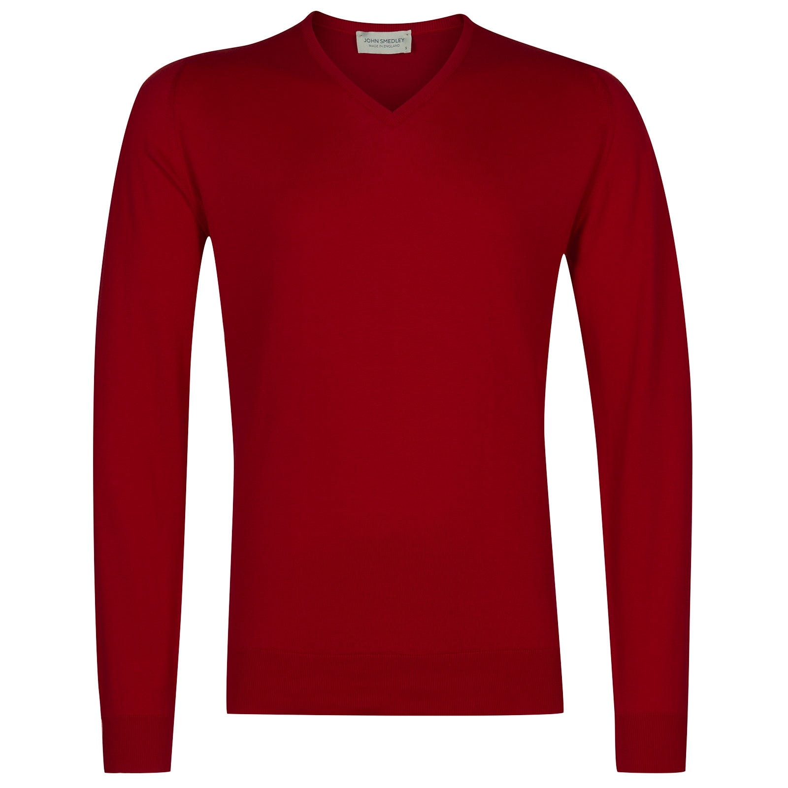 John Smedley Woburn Sea Island Cotton Pullover in Dandy Red-S