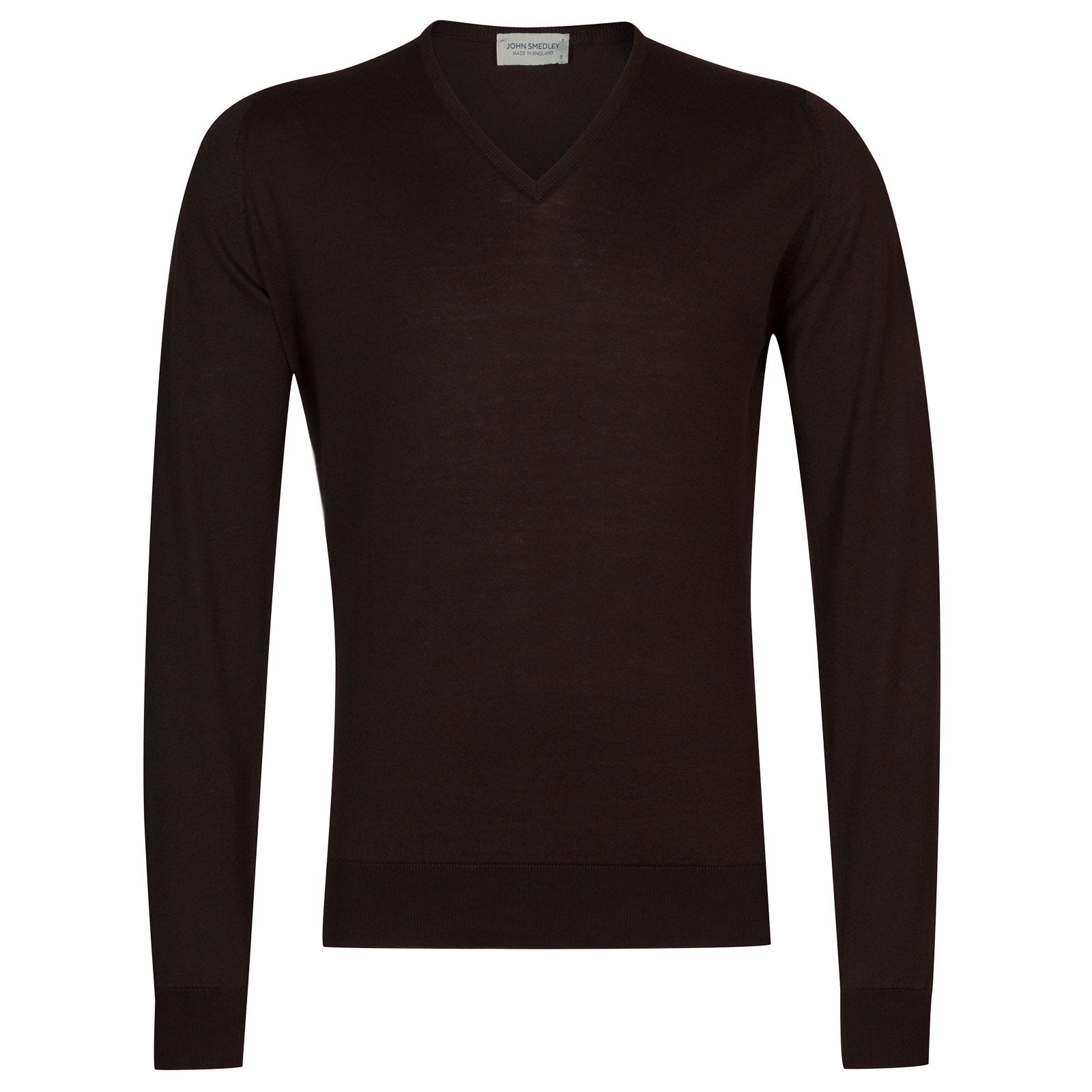 John Smedley Woburn Sea Island Cotton Pullover in Dark Leather-S