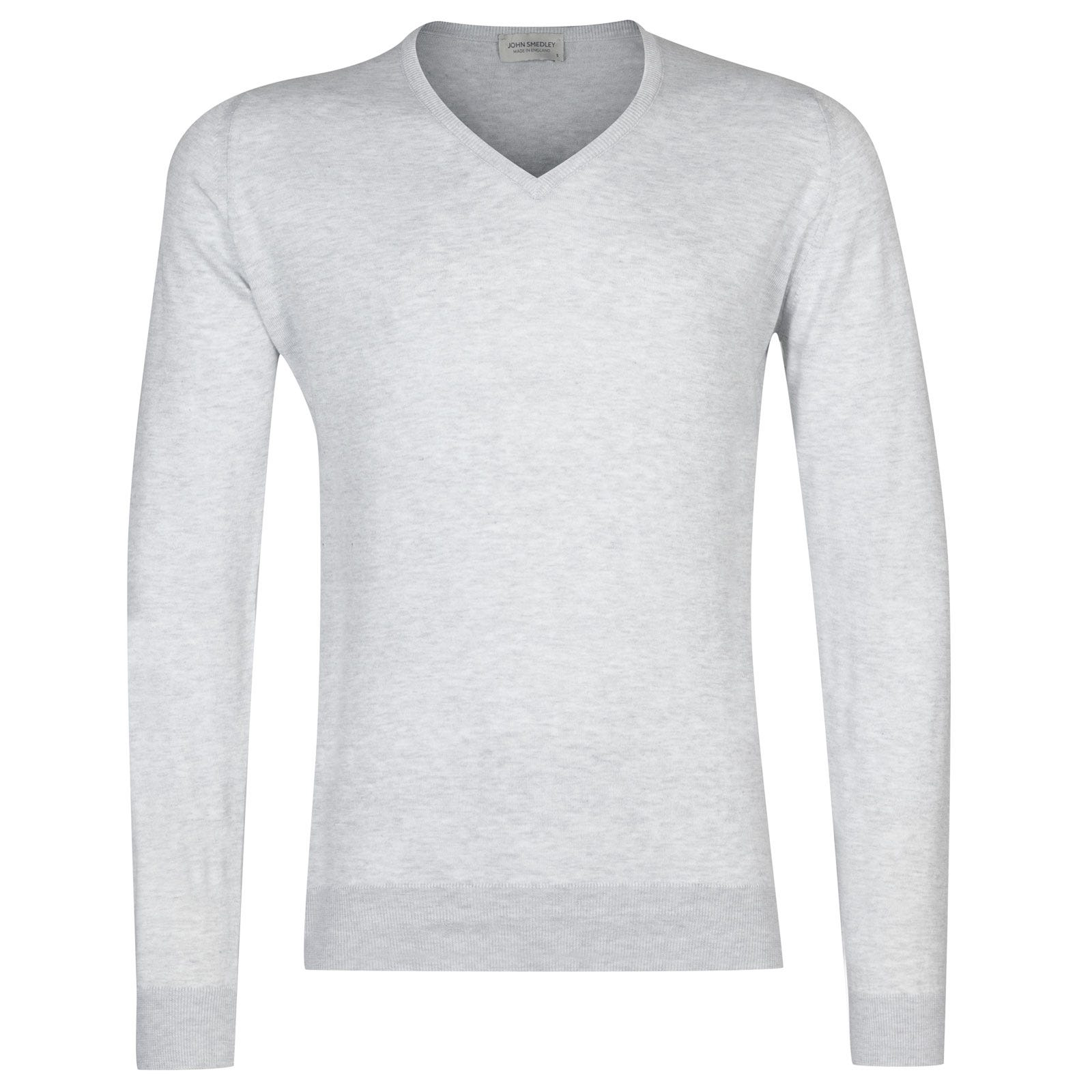 John Smedley Woburn Sea Island Cotton Pullover in Feather Grey-S