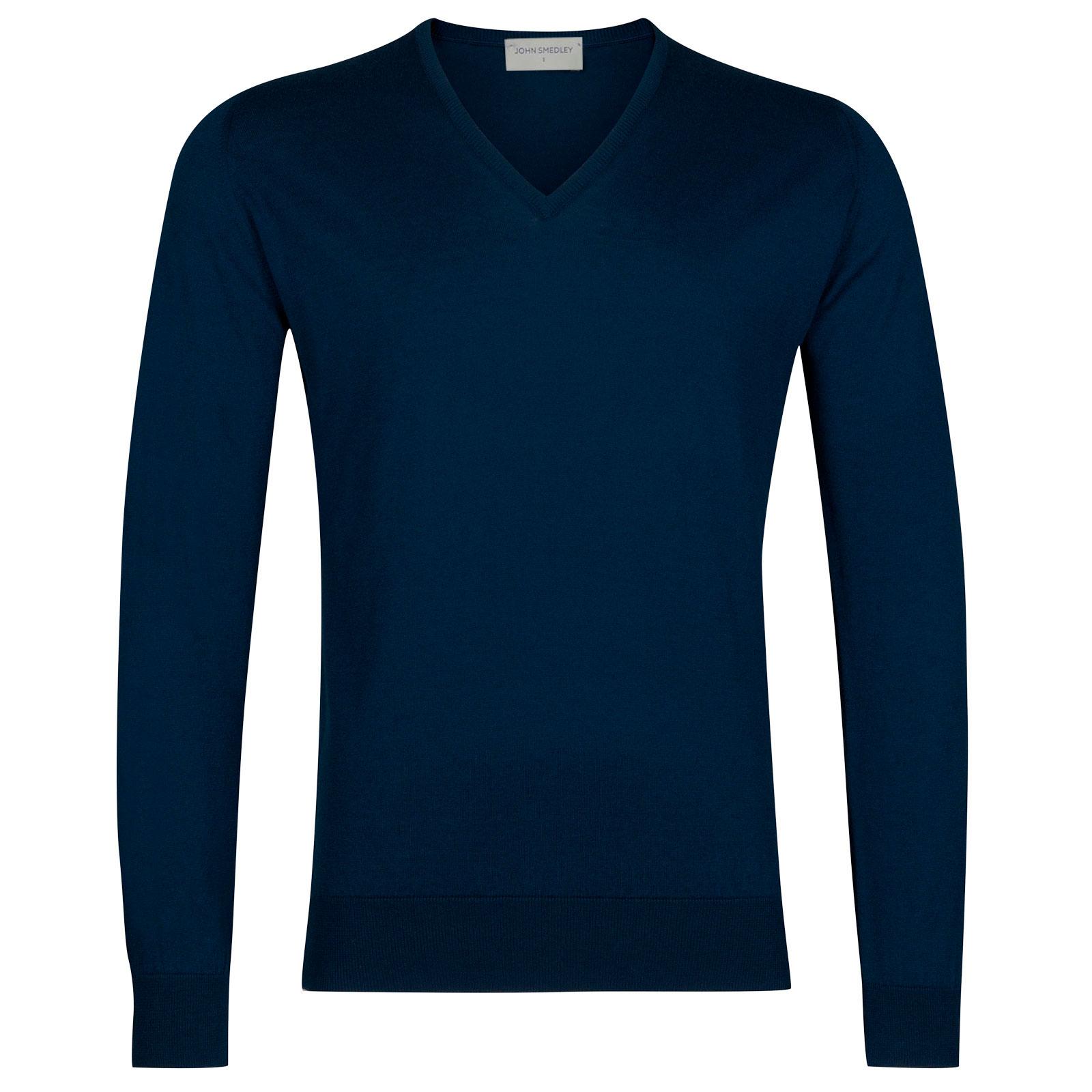 John Smedley Woburn Sea Island Cotton Pullover in Indigo-XL
