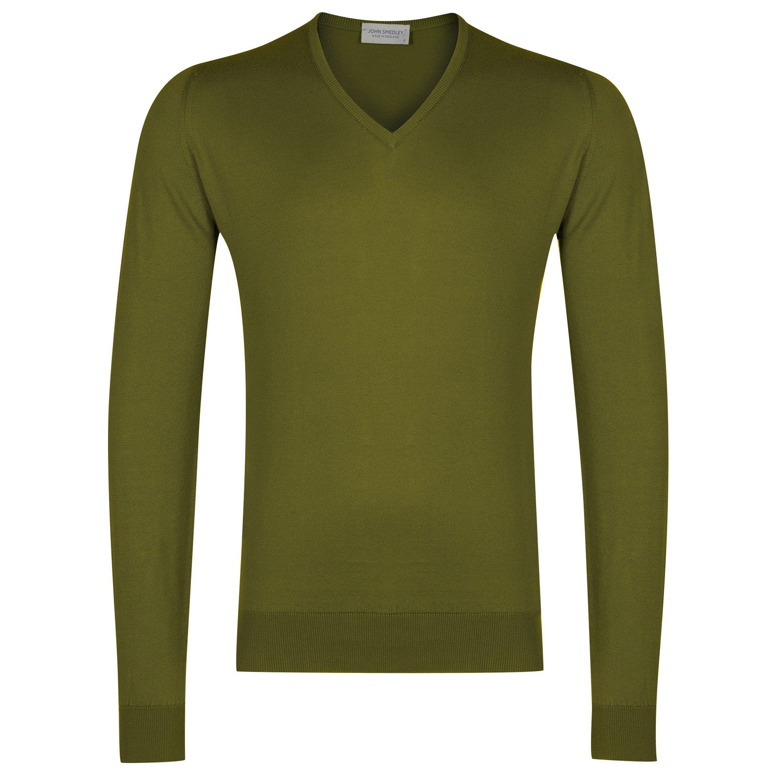 John Smedley Woburn Sea Island Cotton Pullover in Lumsdale Green-S